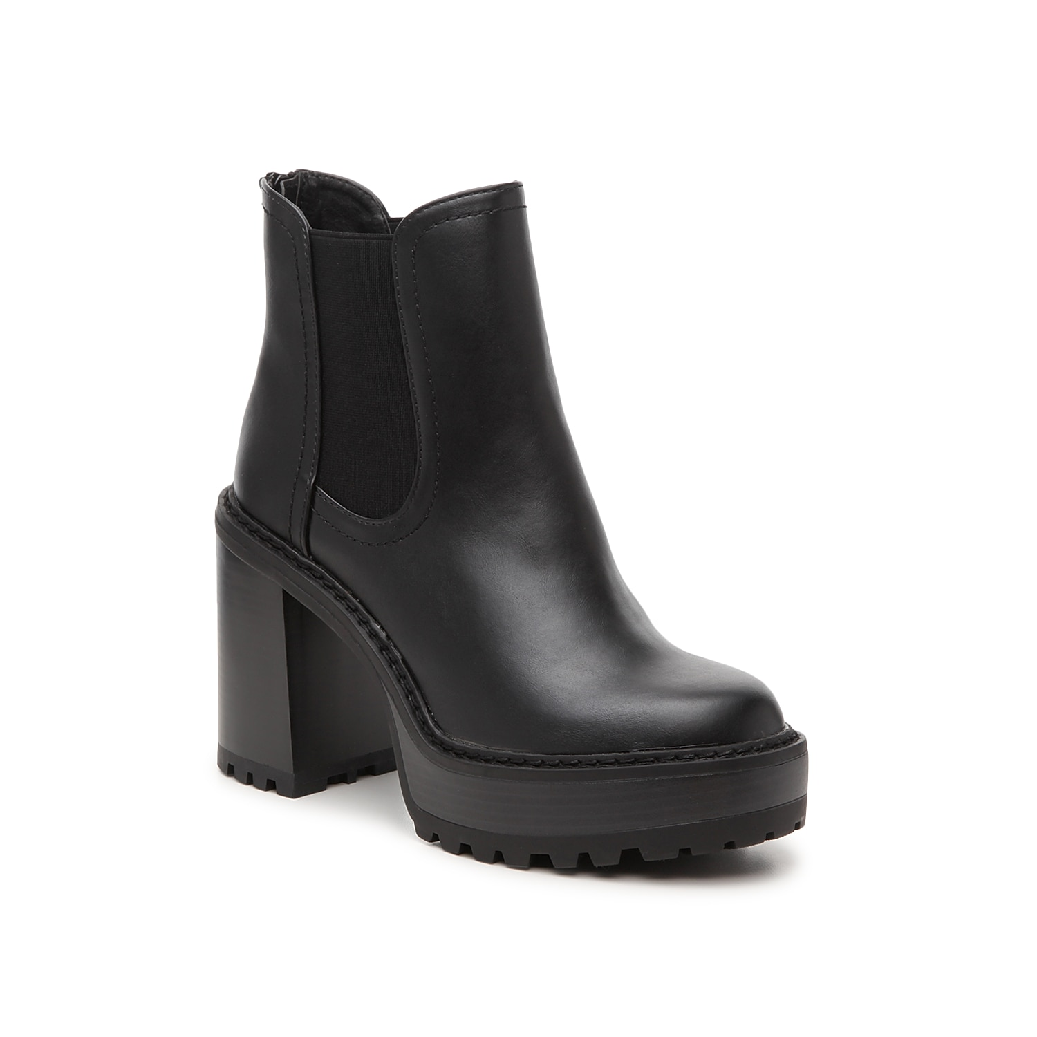 Add some edge to jeans or midi skirts with the Kamora platform bootie from Madden Girl. This Chelsea boot features an extra chunky block heel and lug sole for rugged appeal.