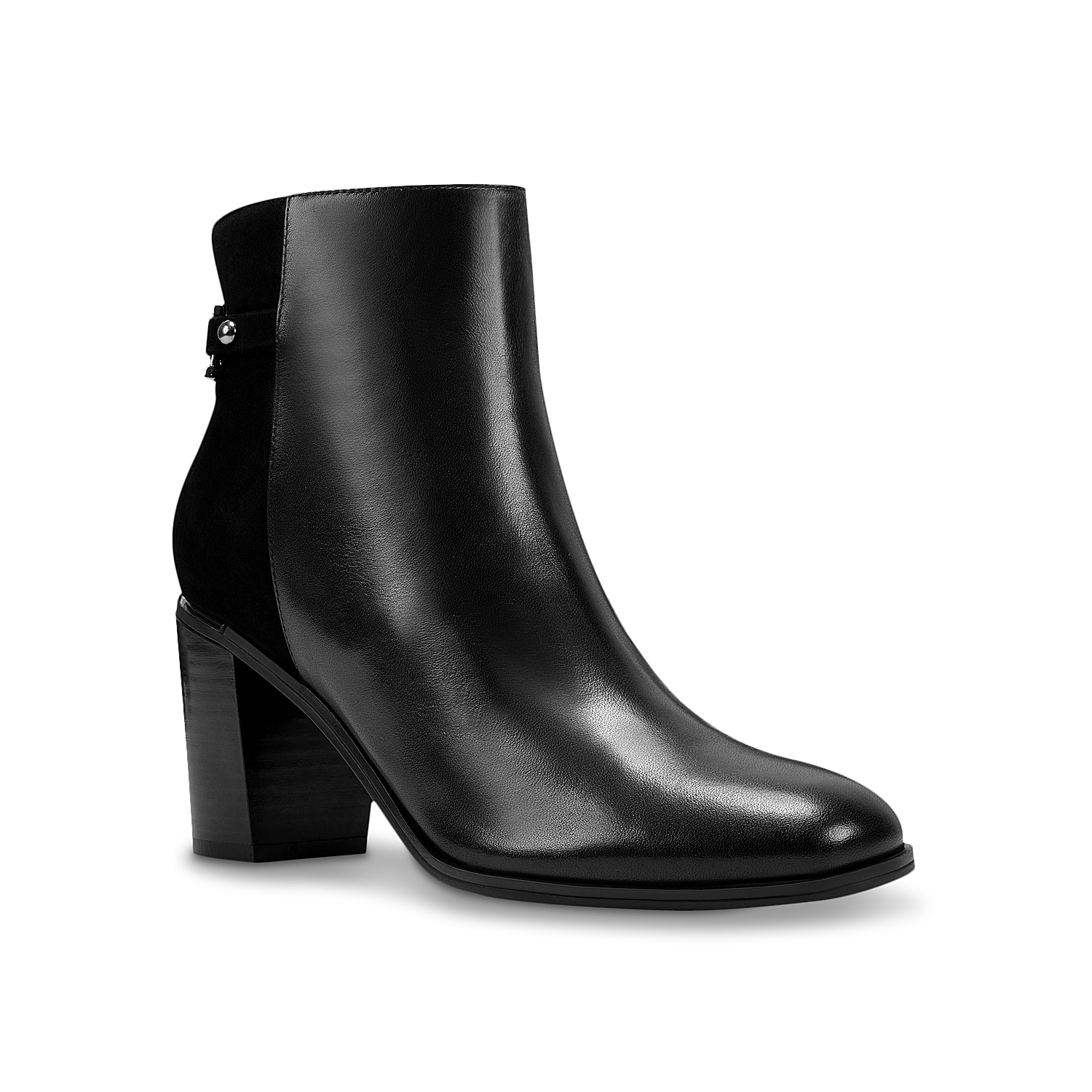 Embolden your ensemble with the Opala bootie from Bandolino. This mixed material ankle boot features a confident-inducing block heel and metal rand detail for added edge. Click here for Boot Measuring Guide.