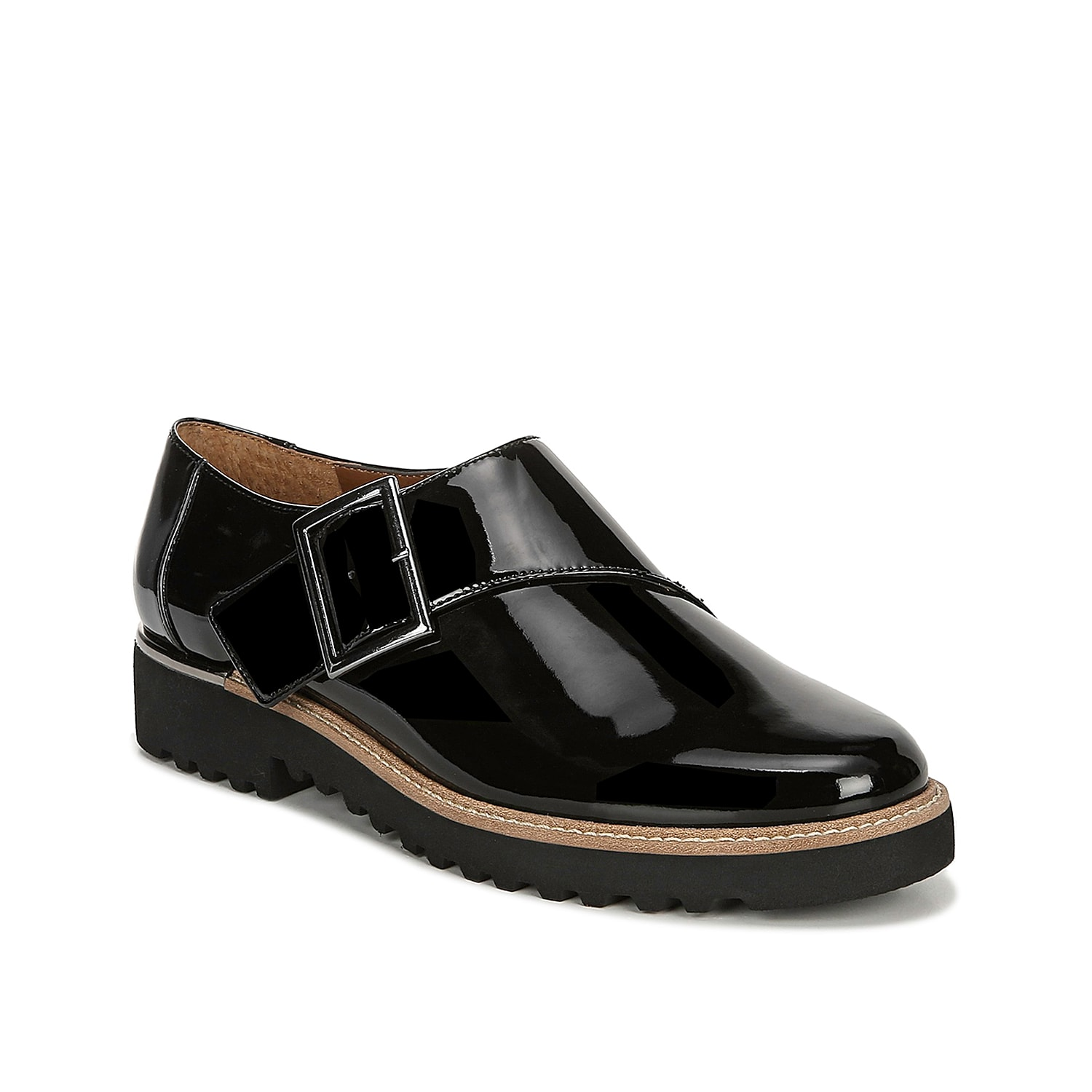 Bring menswear-inspired intrigue to your look with the Cade slip-ons from Franco Sarto. This glossy pair features a bold monk strap closure and lug sole to add edge to cropped slacks or distressed jeans.