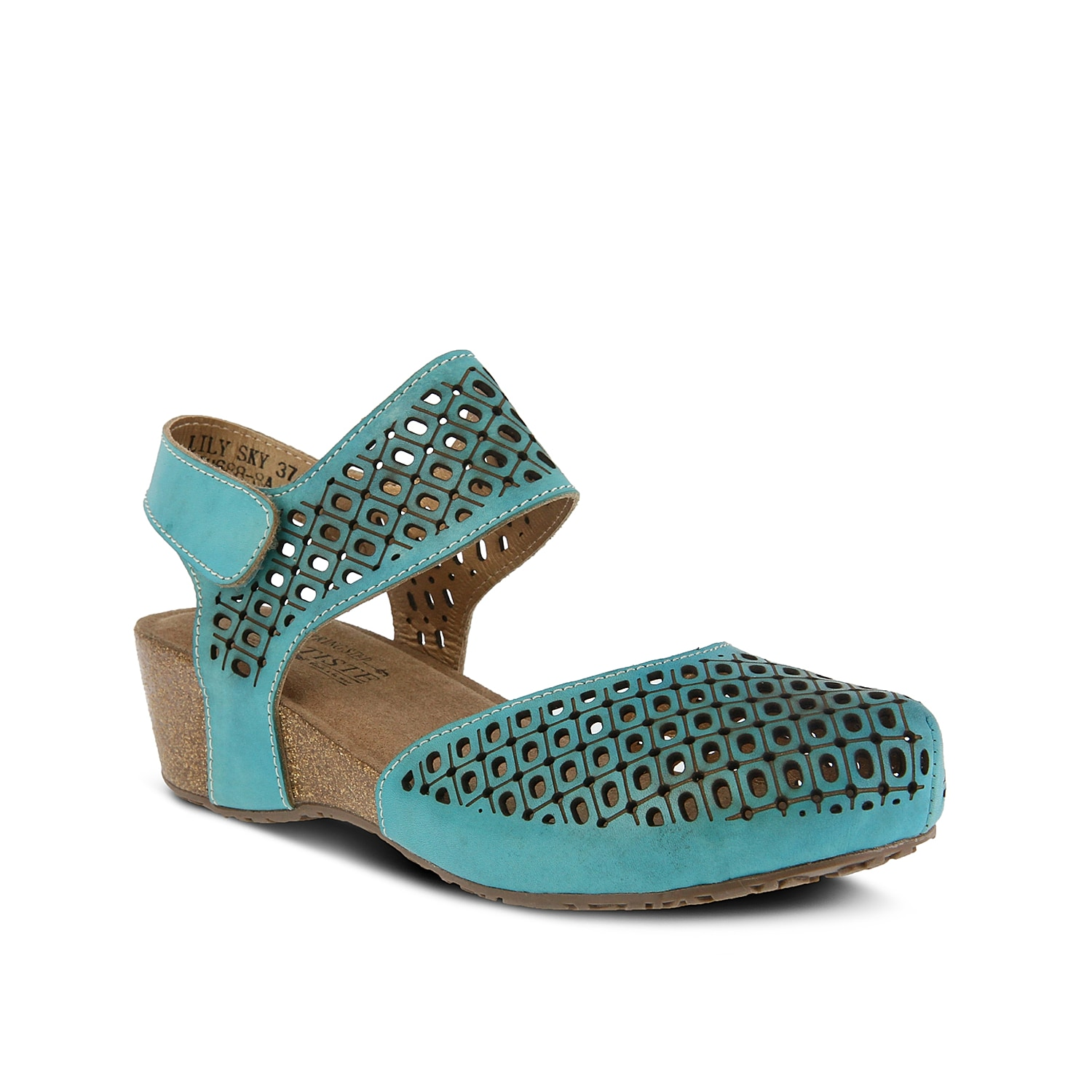 Receive all the compliments when wearing the Poppiri wedge sandal from L\\\'Artiste by Spring Step. A cork midsole and laser cut leather will make it easy to pair with anything in your rotating wardrobe.