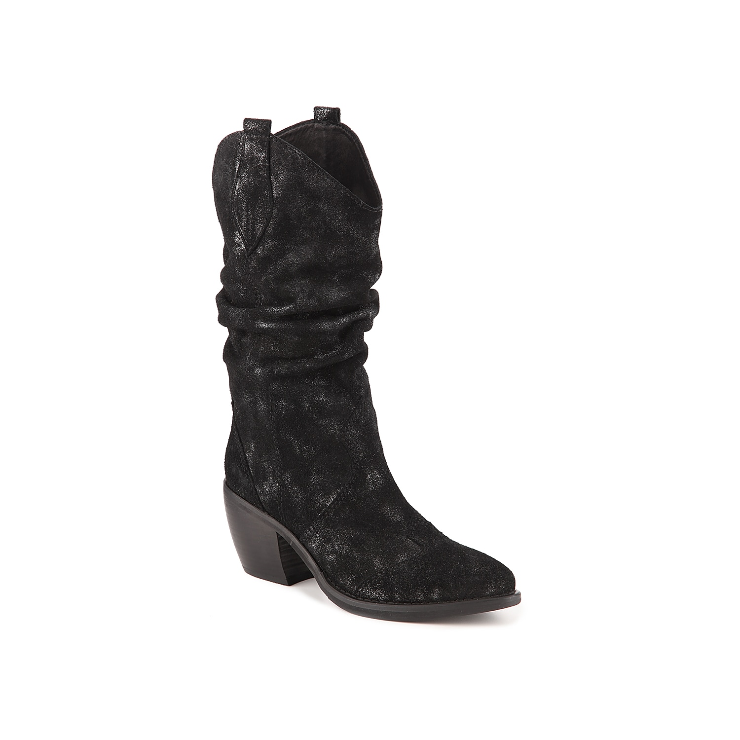 Give off western vibes with the Catkin boot from VANELi. Tumbled suede and slouchy styling lend casual charm to this cowgirl pair that match your statement belts and silver jewelry! Click here for Boot Measuring Guide.