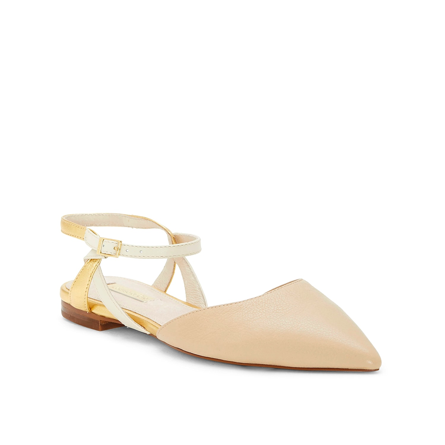 The Louise Et Cie Caledo flat provides pristine coverage when you need a closed-toe option. An open heel and quarter strap complete the silhouette.
