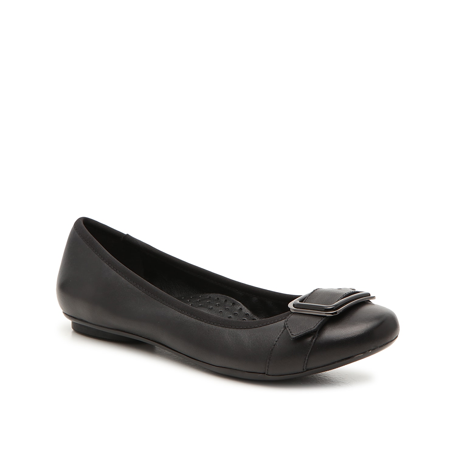 Dress up your daily ensemble with the Solana flat from VANELi. This silhouette is fashioned with a buckle embellishment and an arch supported footbed for extra comfortable steps!