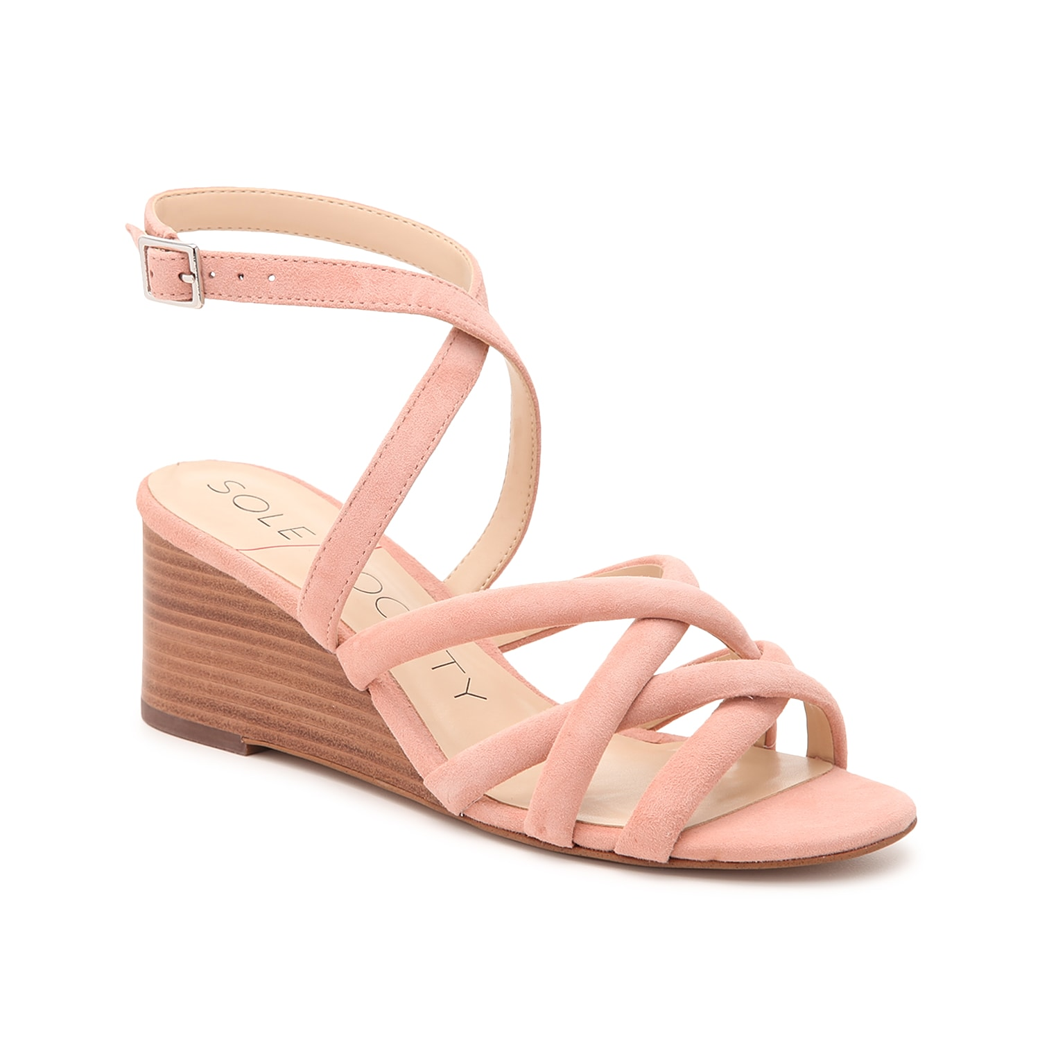 Crisscross and wrapped straps lend casual charm to the Khalessia sandals from Sole Society. These suede stunners are propped up by a mid-rise wedge that boosts your height without going too high!