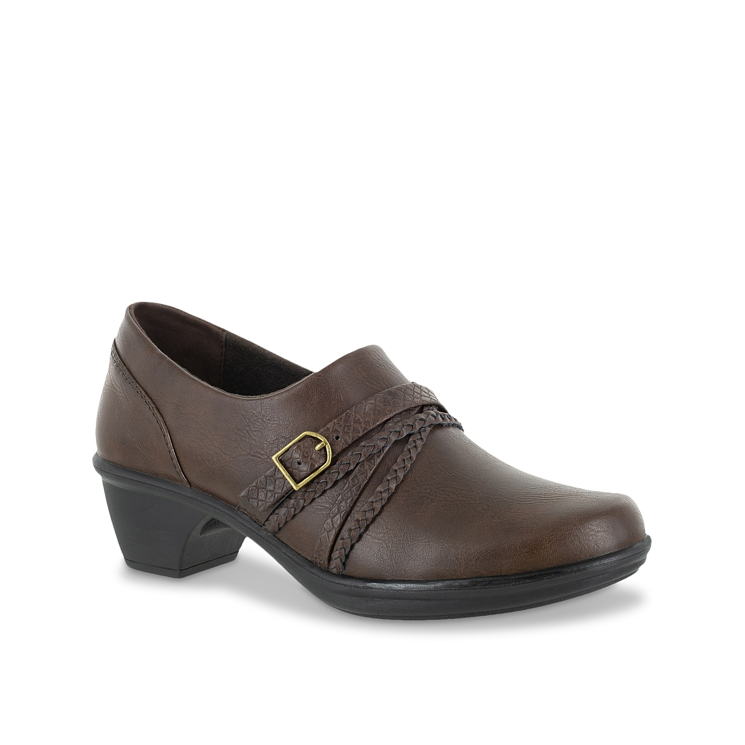 Comfort and style go a long way with the Titan bootie from Easy Street. This slip-on pair is fashioned with multiple braided straps and a removable insole for cushioned steps!