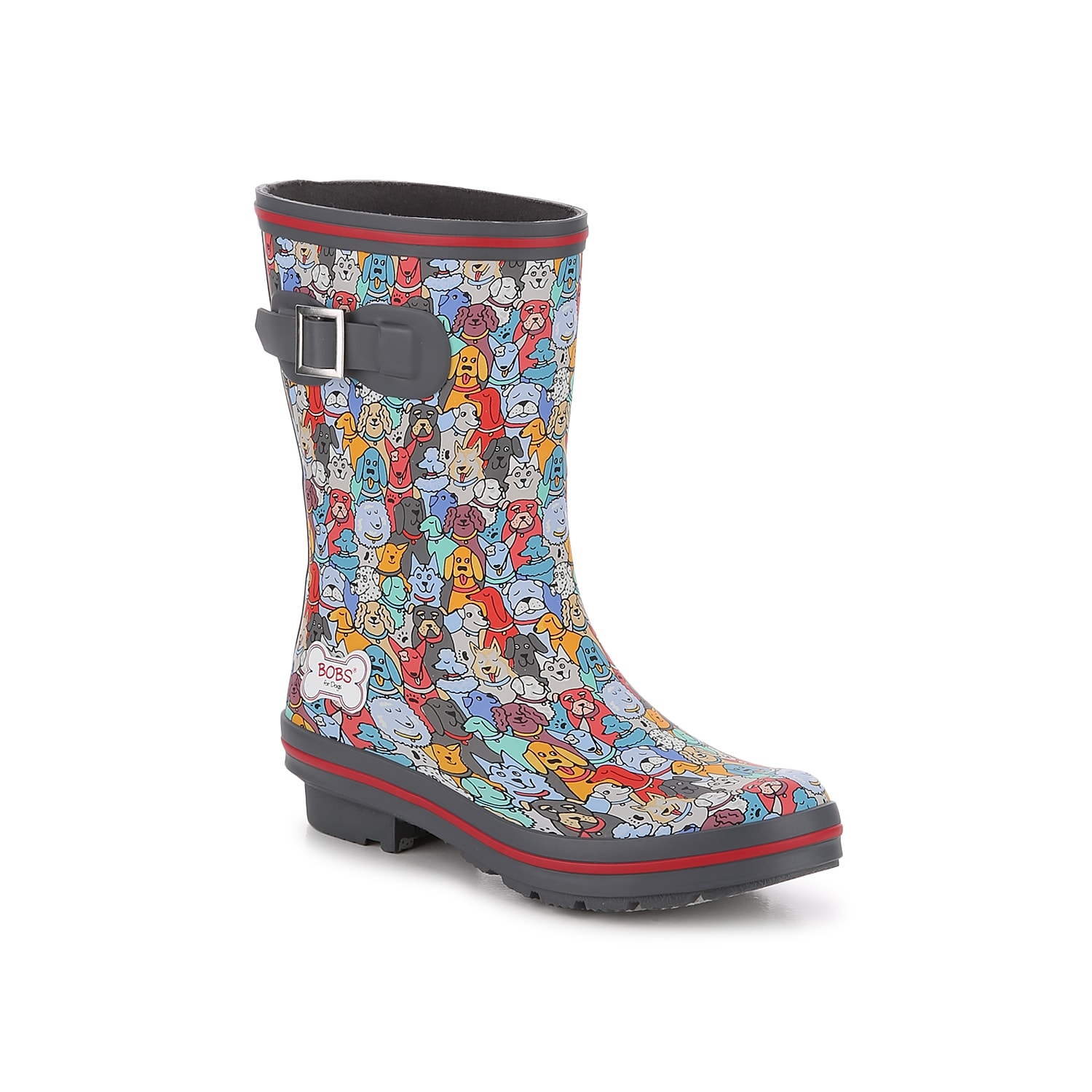 Don\\\'t be afraid to splash in that puddle with the Rain Check April Showers rain boot from Skechers Bobs. This fun waterproof boot features a colorful dog print to brighten gloomy days! Click here for Boot Measuring Guide.