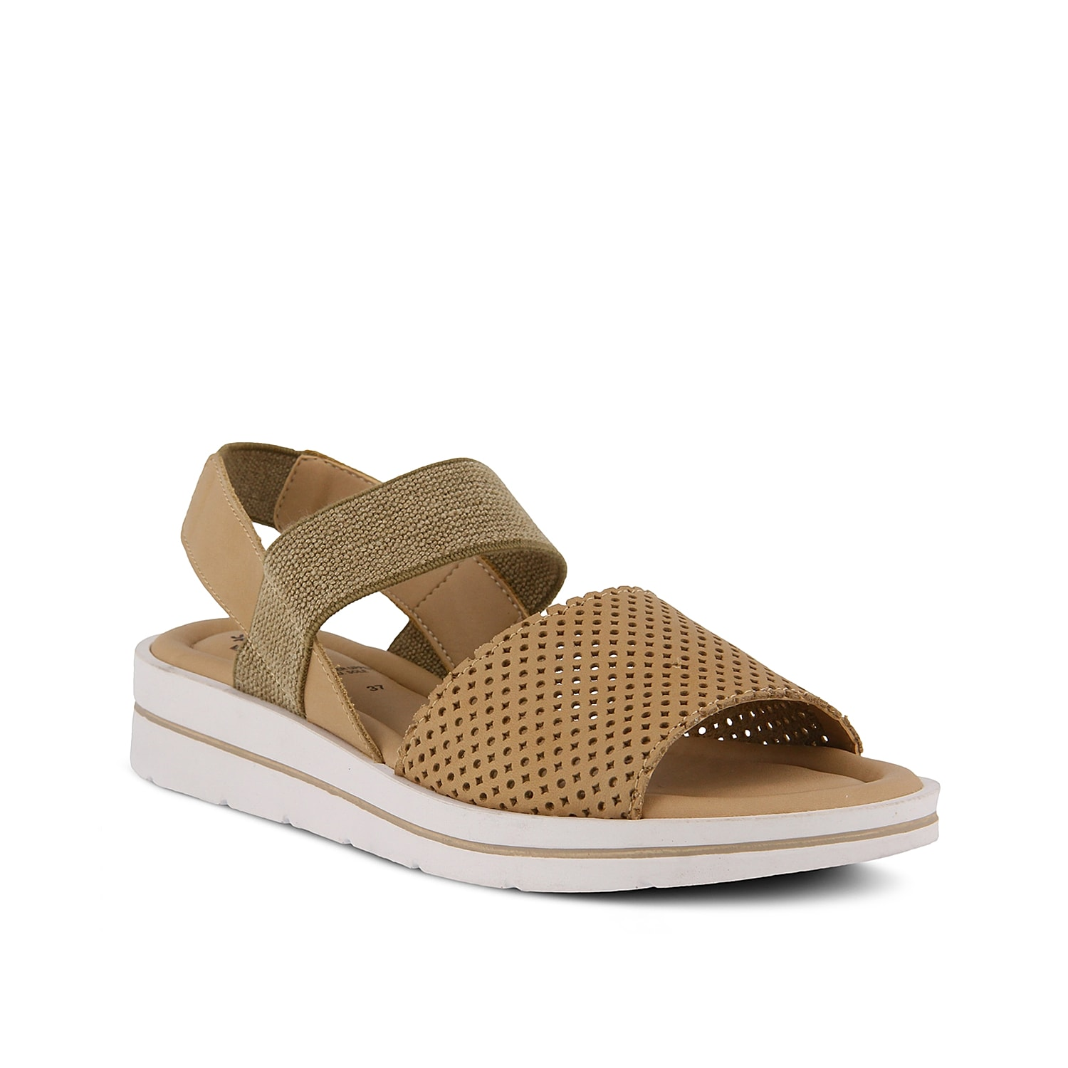 Complement capris or skirts with the Travel sport sandal from Spring Step. A stretchy band helps you pull on these leather sandals with ease!