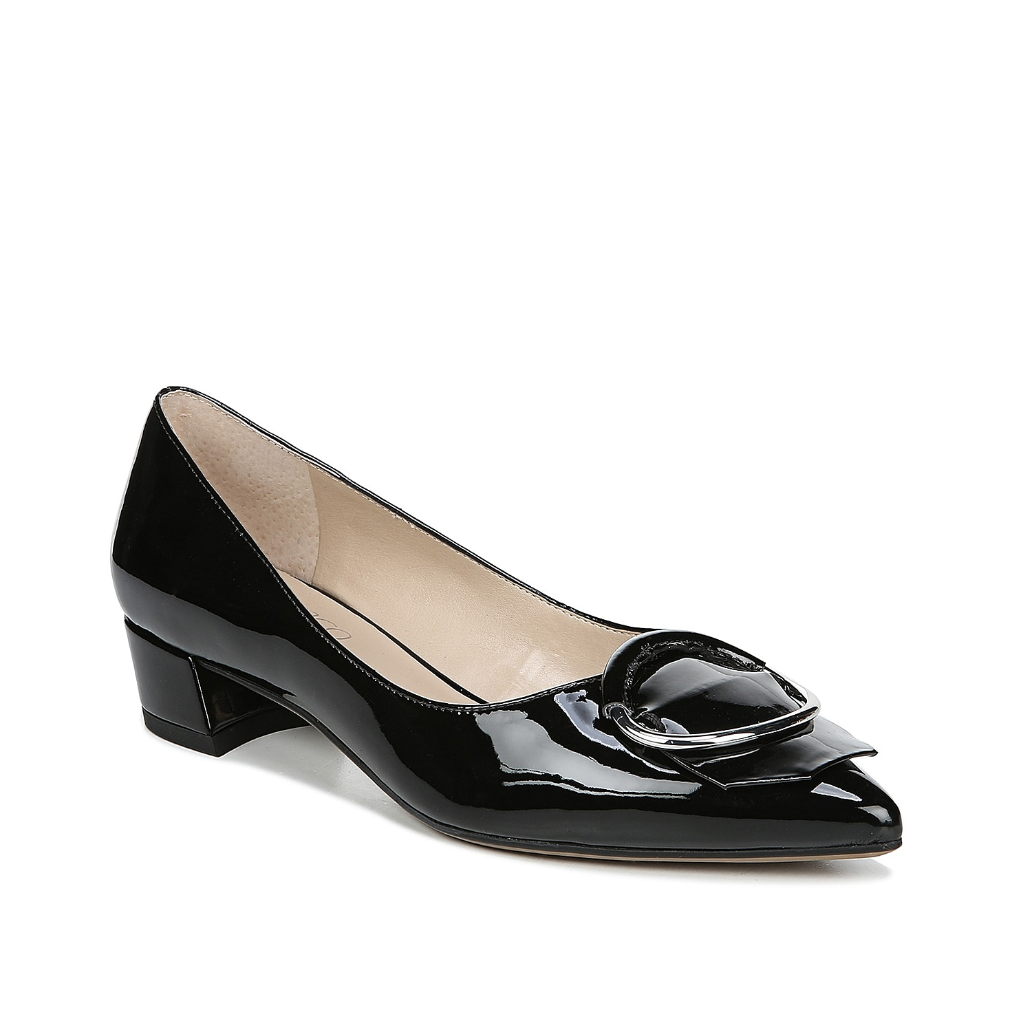 This ladylike flat from Franco Sarto polishes every work outfit! The Vino pump flaunts an oversized metal ring and slightly curved heel to create visual interest.