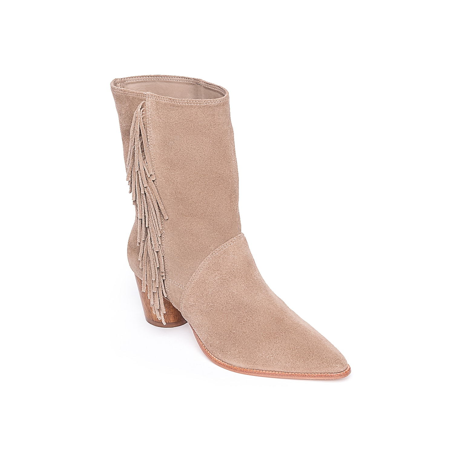 Show off your boho chic style with the Felix bootie from Bernardo. A bold fringe accent complements the wood block heel for the perfect amount of western appeal.