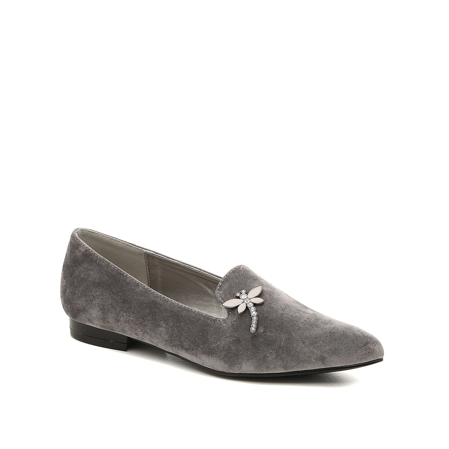 Channel your inner fashionista side when wearing the Dragonfly loafer from Bellini. The velvet upper, cushioned footbed, and dragonfly brooch will give your ensemble the perfect classy touch!