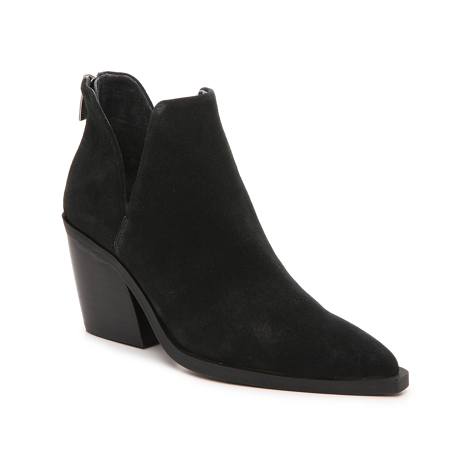 Dramatic angles define the Bibestie ankle boots from Vince Camuto. An extra-long toe ends in a square point, deep V-shape cutouts accent the sides, and a curved block heel supports the silhouette.Click here for Boot Measuring Guide.