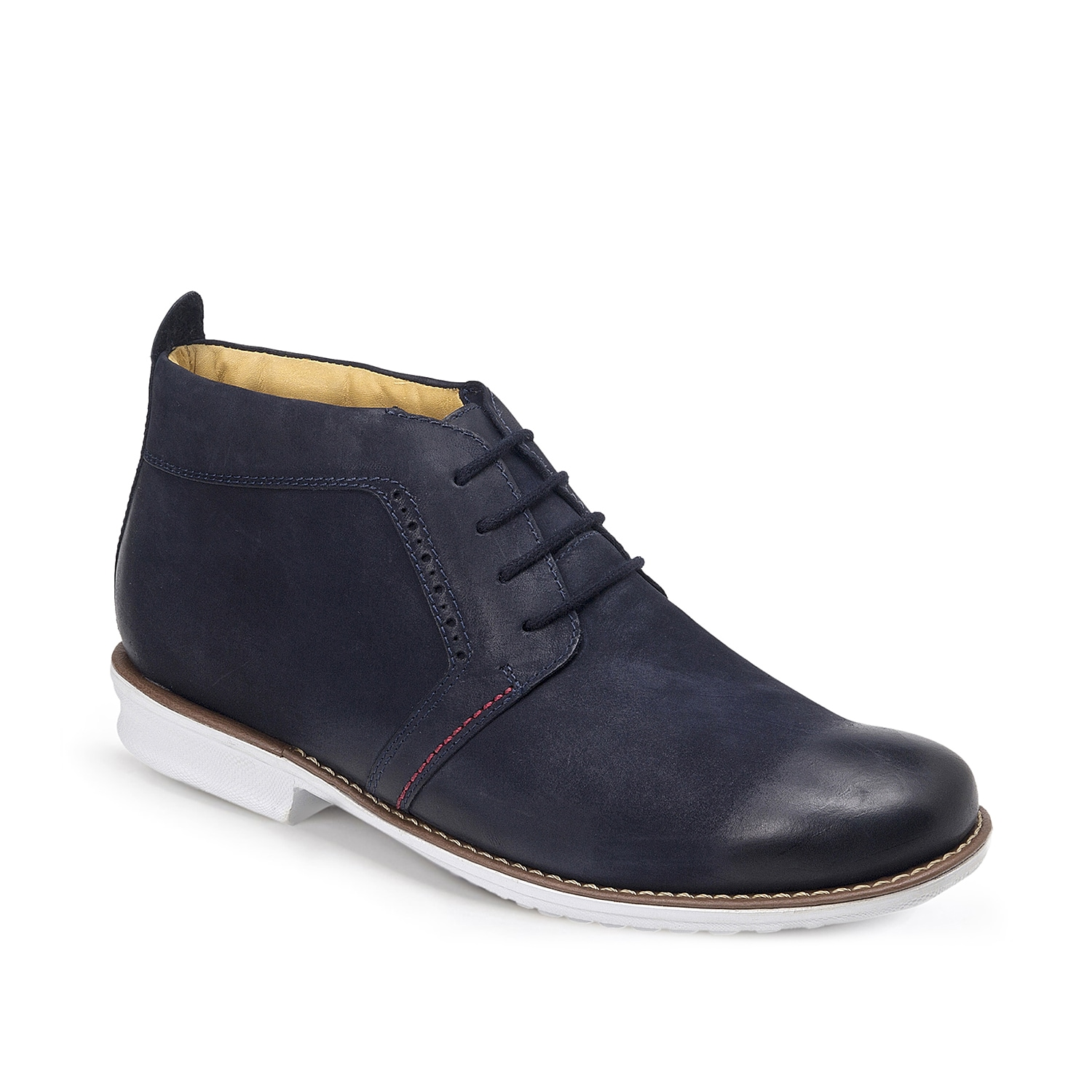 The Mauro chukka boot from Sandro Moscoloni will bring a fresh look to your shoe collection. This lace-up pair features smooth leather upper and subtle perforated accents for a handsome finishing touch!