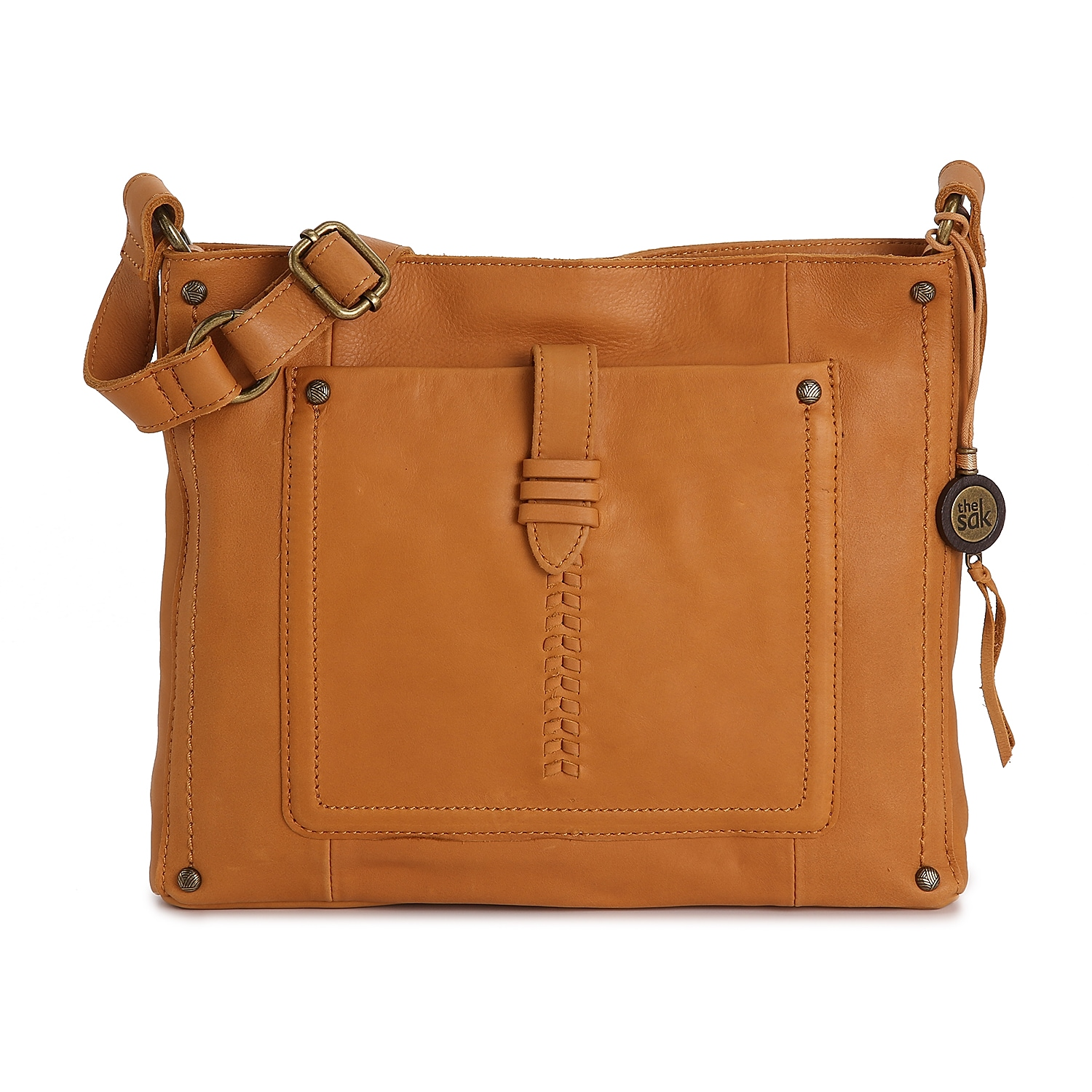 A structured square shape defines the Heritage shoulder bag from The Sak. This leather crossbody features a smooth finish and coordinating metal hardware for a hint of metallic shine.