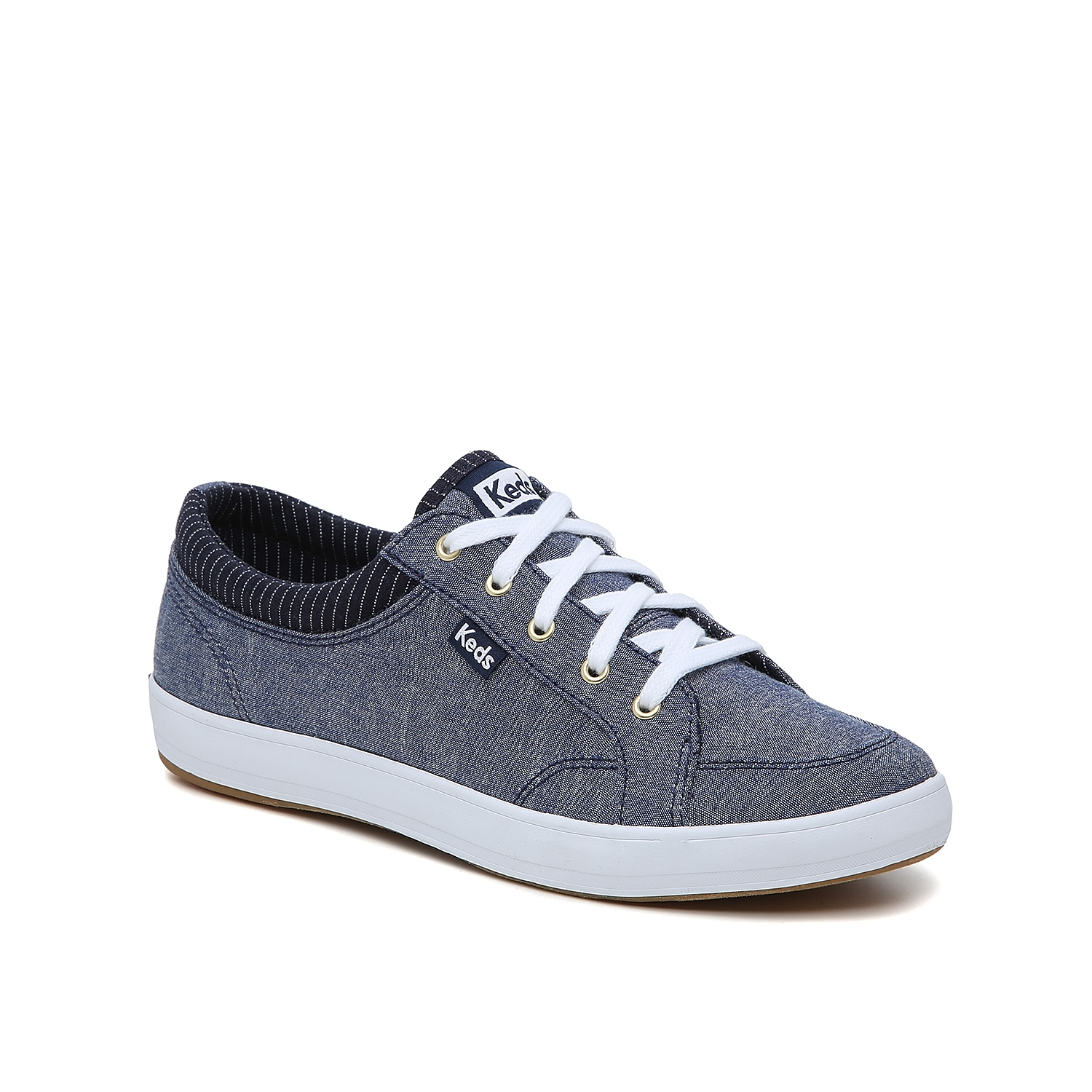 The women\\\'s Center sneaker from Keds will take your casual look up a notch in no time. These lace-ups feature chambray-style canvas to bring relaxed vibes to jeans or a T-shirt dress.