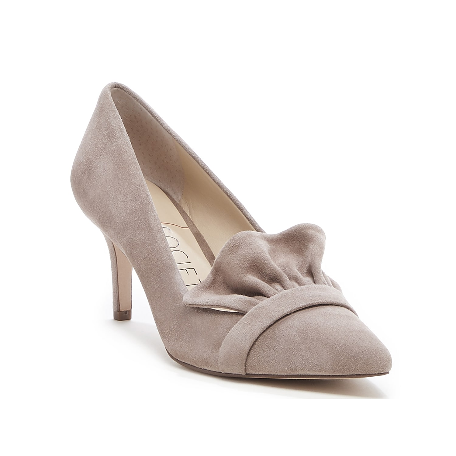 Step into charming style with the Darbia pump from Sole Society. Featuring a ruffled accent at the pointed toe, this pair will complement skirts, jeans, and everything in between.