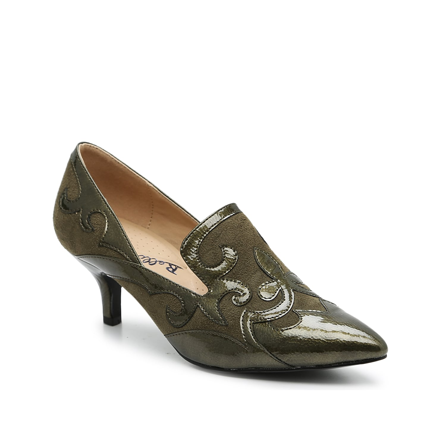 Complement any tailored look with the Bengal pump from Bellini. This pointed toe pair features a loafer-inspired vamp and kitten heel for trendy appeal.