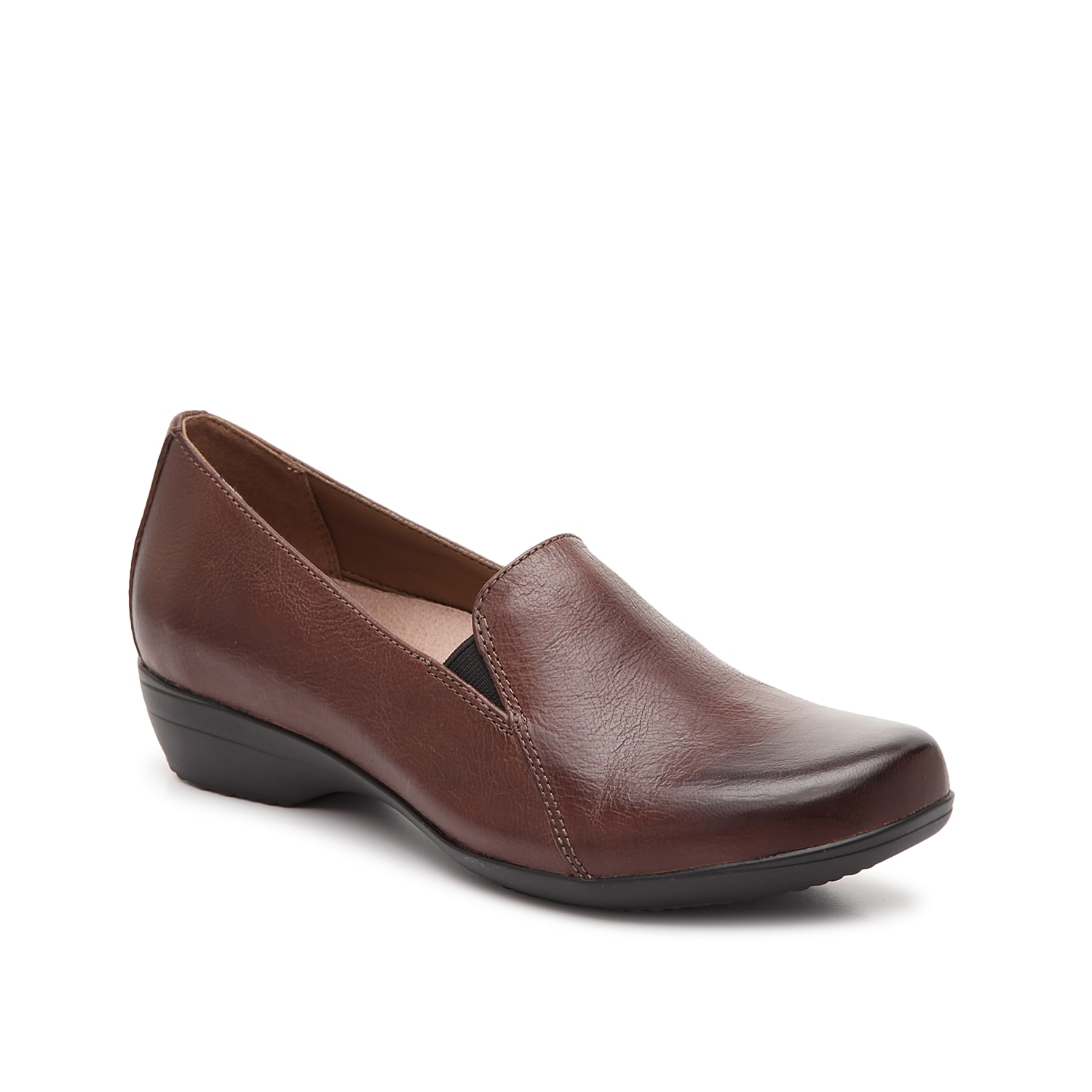 The Farah slip-on from Dansko will elevate your entire shoe collection. This classic pair is fashioned with a leather construction and a low heel that will give your outfit the perfect lift!