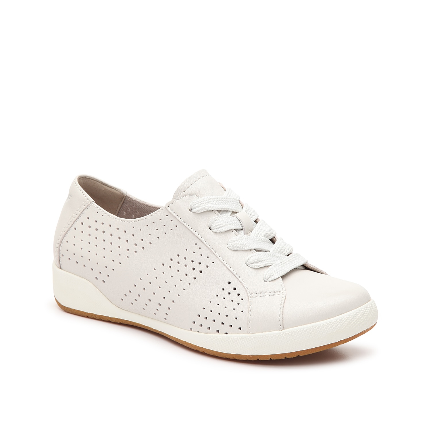The Orli sneaker from Dansko will bring you all the comfort and cushion. This lace-up pair is fashioned with a laser cut leather upper and a removable insole for daylong wear!