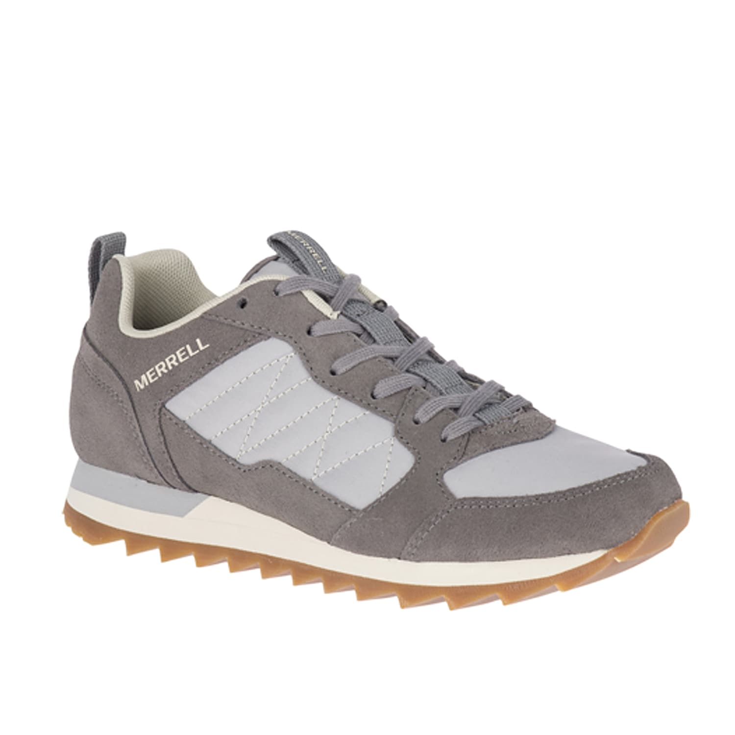 The Alpine sneaker from Merrell offers superior comfort along with some serious style. This retro style shoe is equipped with Kinetic Fit¿ base contoured insole that offers sturdy support with every step.