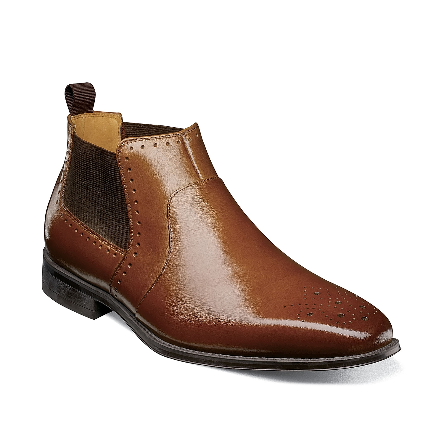 Classic meets modern in the Perrin boot from Stacy Adams. This Chelsea boot features a distinguished medallion square toe and smooth leather that complement dark wash jeans or slacks.