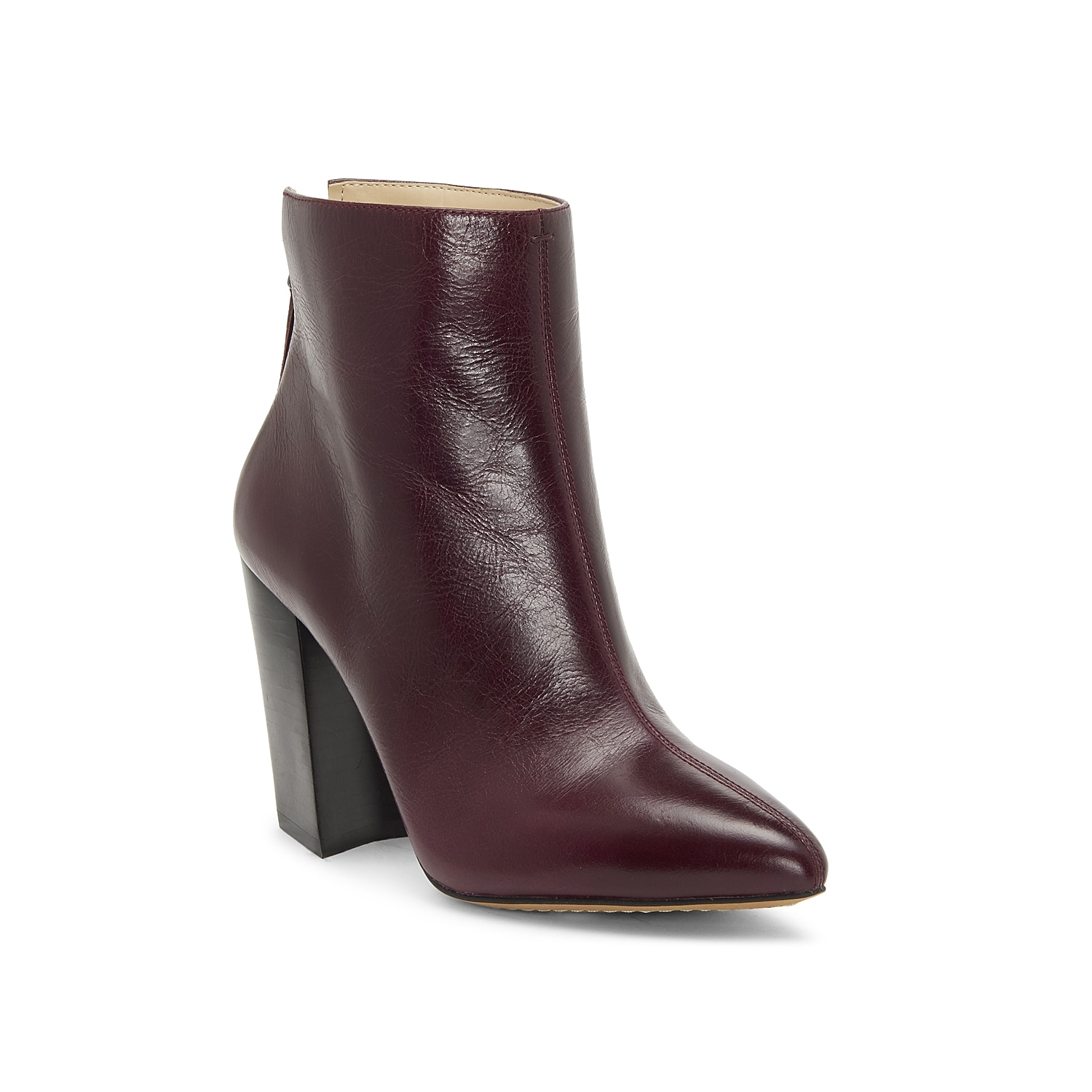 Streamline your look with the Saavie bootie from Vince Camuto. These ankle boots are crafted from rich leather and feature a trend-right slanted heel for an architectural touch. Click here for Boot Measuring Guide.