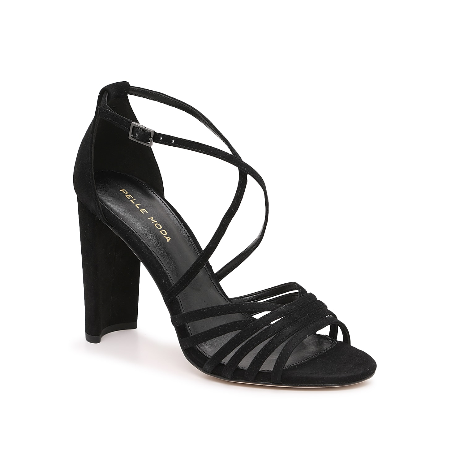 The Huxley sandal from Pelle Moda displays modern curves with a soft almond toe, layered and crossed straps, and a half moon heel that looks blocky from the back. Supple suede elevates this high-quality pair.