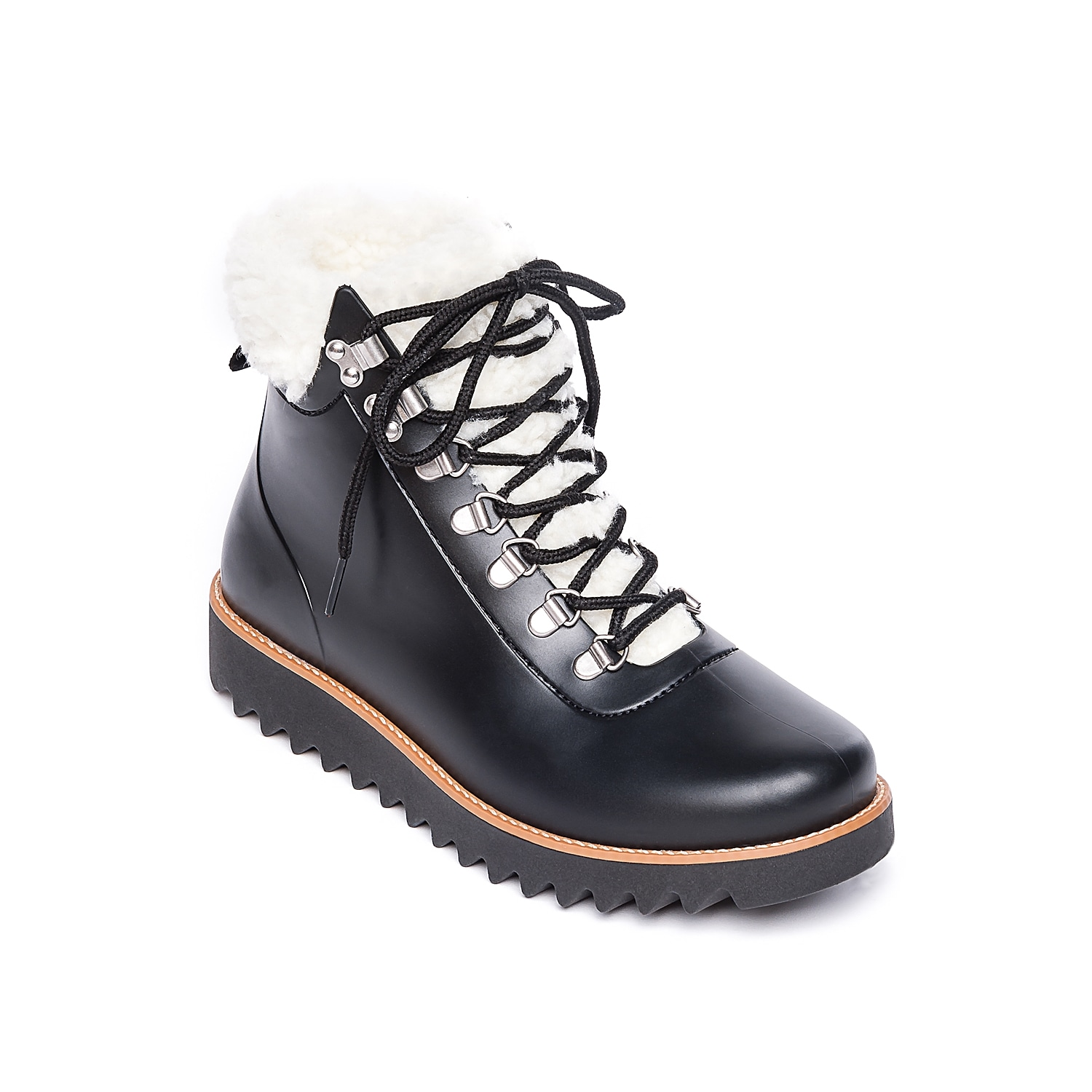 Easily take on any wet day when wearing the Wiley rain boots from Bernardo. This lace-up pair features a rubber design and a sherpa collar for an extra-cozy touch! Click here for Boot Measuring Guide.