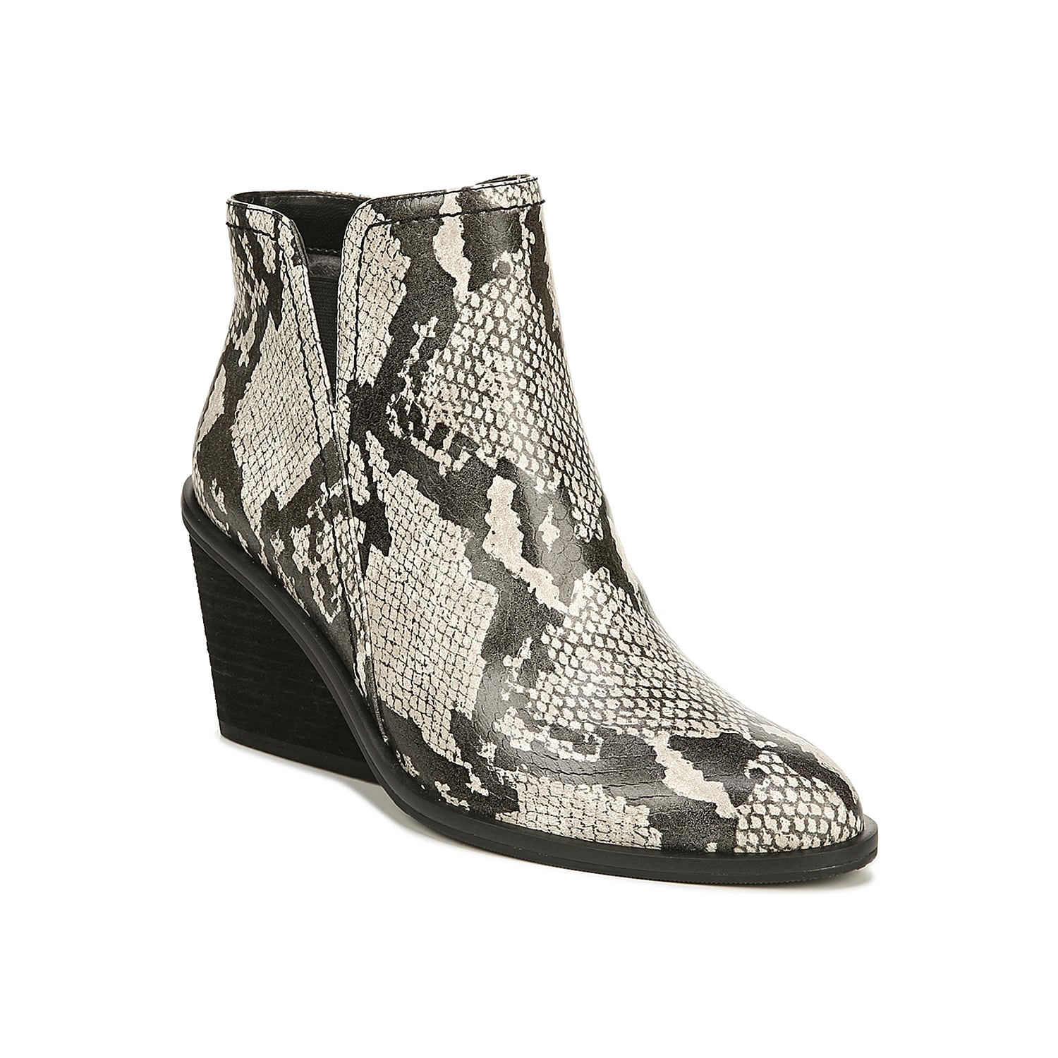 The Morgan wedge bootie from Dr. Scholl\\\'s blends together comfort and style. The asymmetrical topline and stacked heel will pair with anything from skinny jeans to maxi dresses! Click here for Boot Measuring Guide.