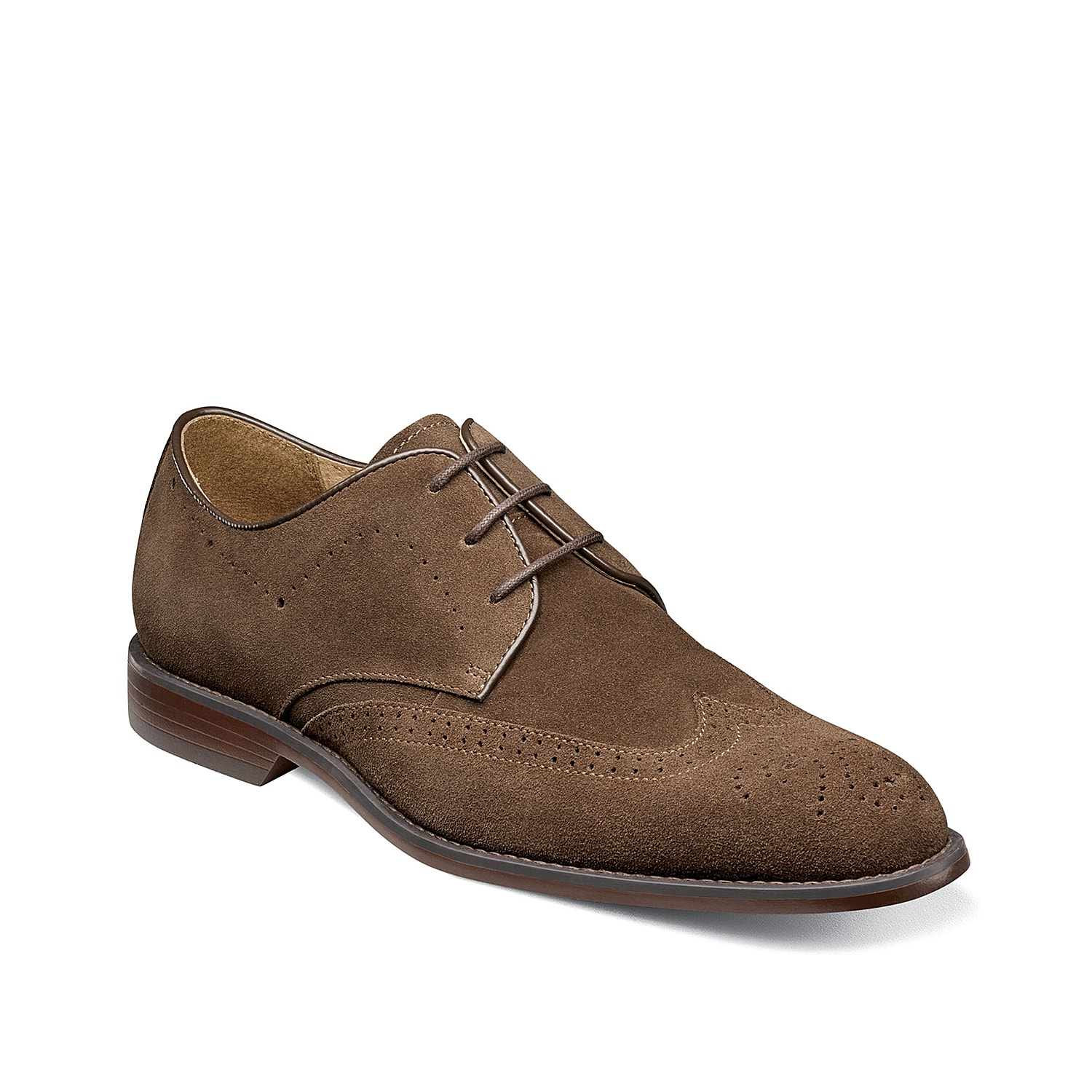 Once you lace into the Wickersham wingtip oxford from Stacy Adams, you\\\'ll want to rock it with all your tailored looks! This suede pair is upgraded with a memory foam footbed for all day comfort.