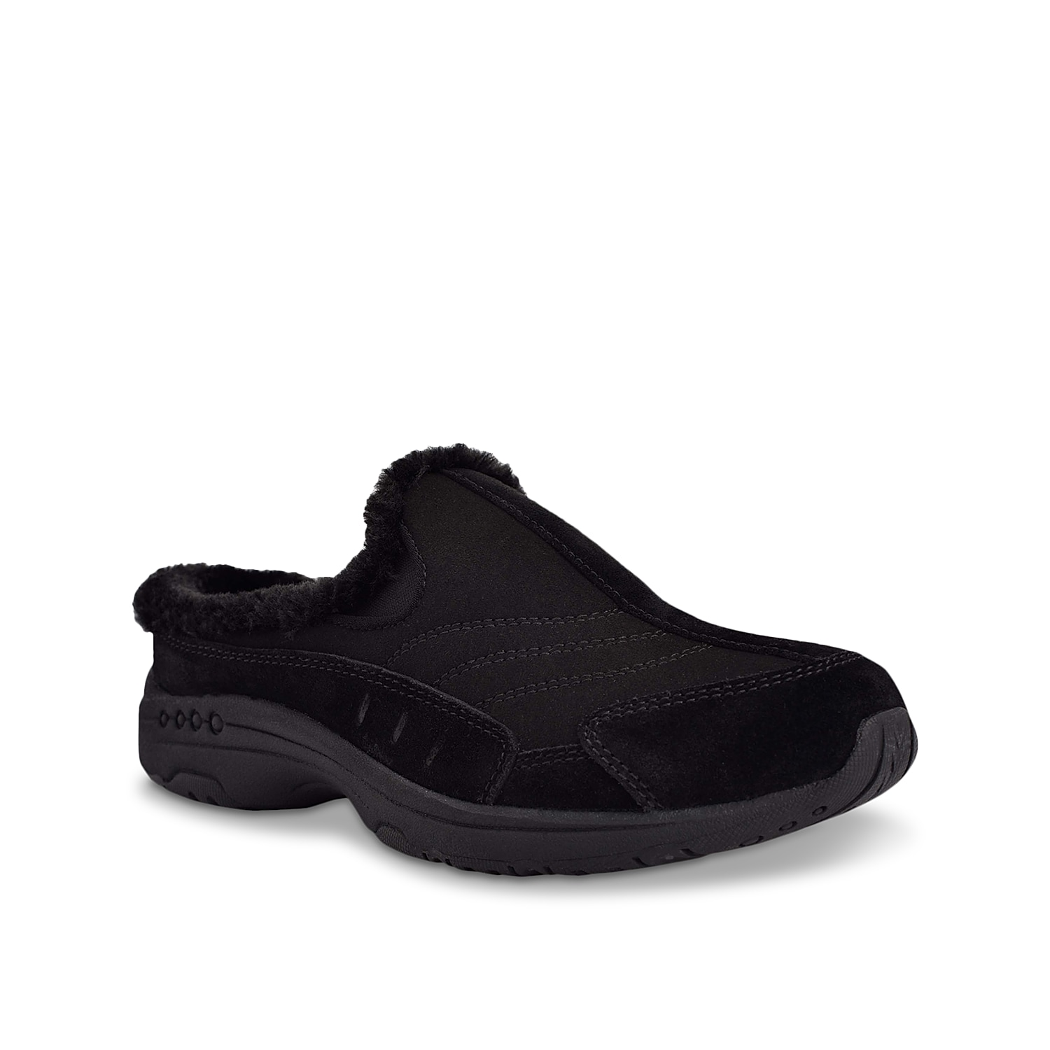 Complete your casual shoe collection with the Travelfuzz clog from Easy Spirit. This slip-on features a removable cushioned insole and an EVA midsole to promote flexibility and comfort in each step you take!