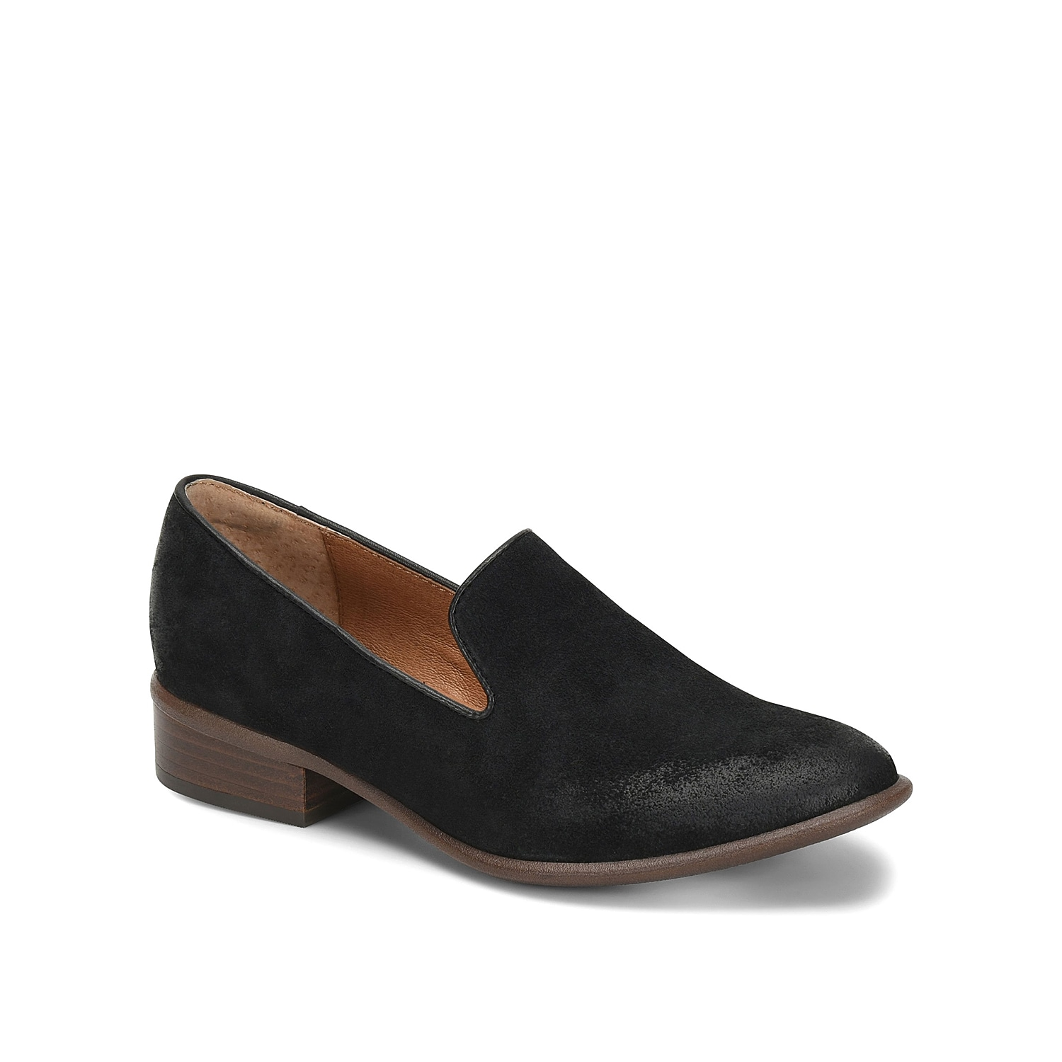 Give work or weekend attire a classic feel with the Severn loafer from Sofft. These suede smoking slippers feature a cushioned footbed for arch support and a low block heel for easygoing steps.