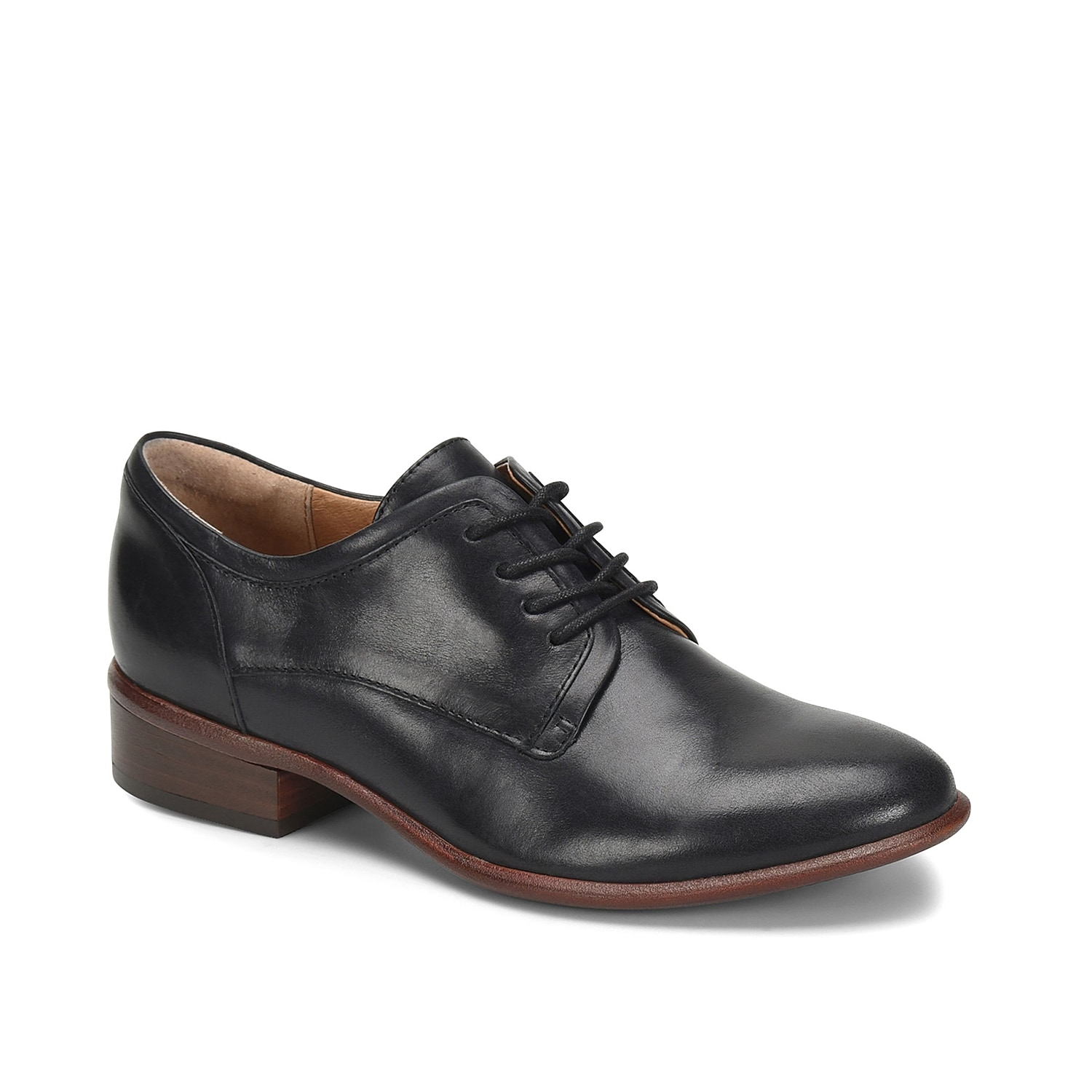The Sweden oxford from Sofft provides a menswear-inspired vibe to any outfit. These leather lace-ups feature a cushioned ball and heel for extra arch support and a low block heel for a little lift.