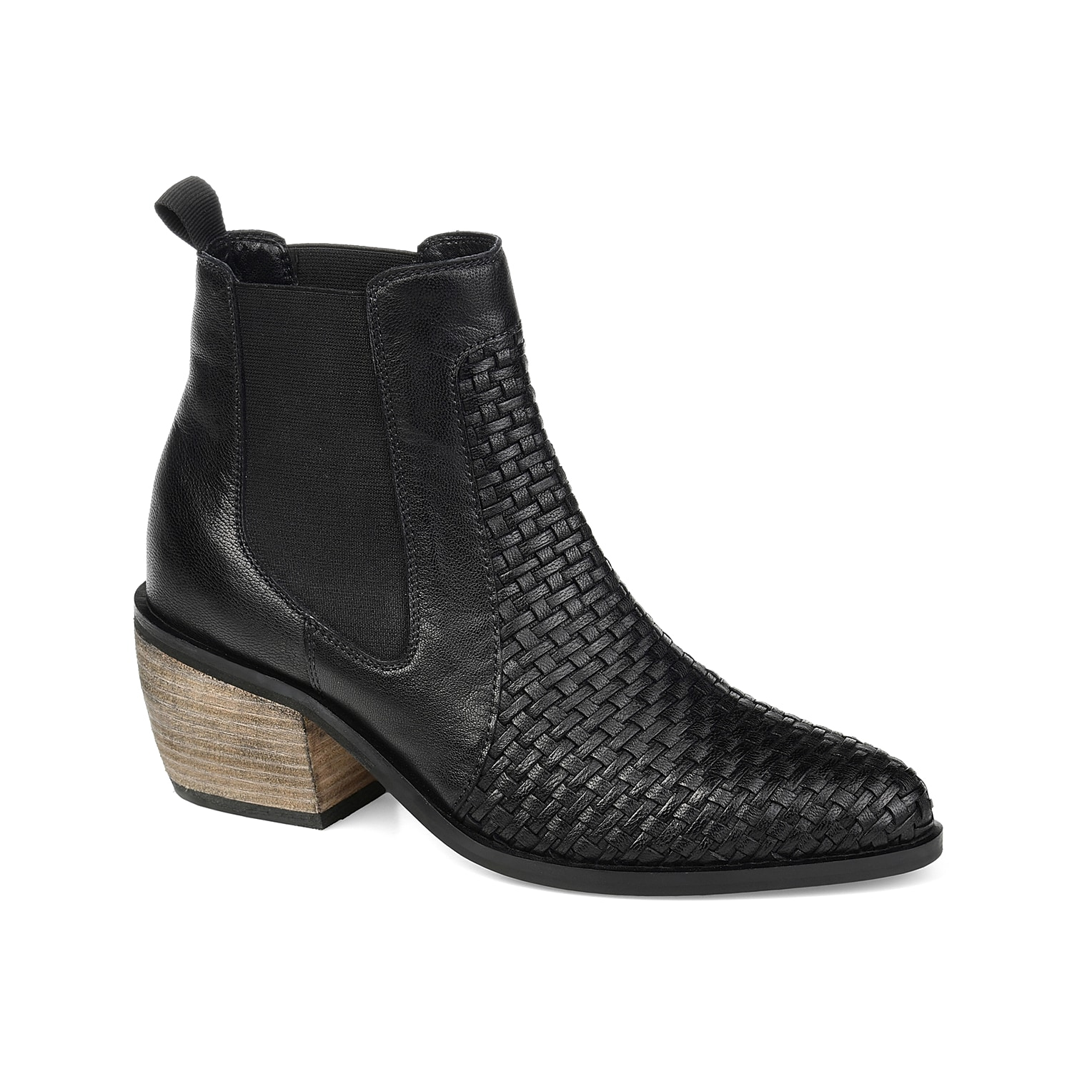The Skyller bootie from Journee Signature rocks the perfect balance of modern and rustic style. This Chelsea boot features woven leather and chunky block heel for easy styling.Click here for Boot Measuring Guide.