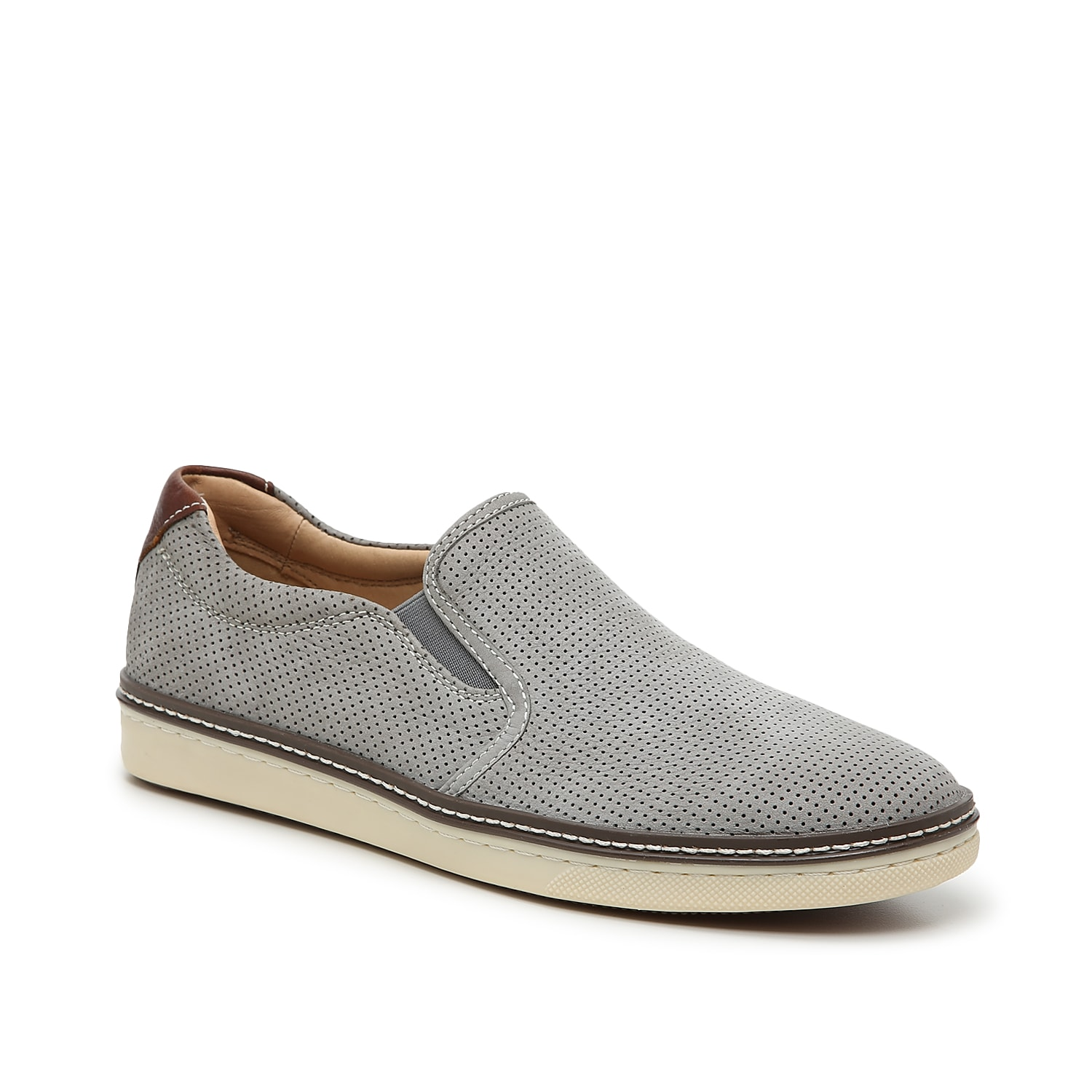 Kick your style up a notch with the Cullings slip-on from Johnston & Murphy. The perforated leather upper and dual side gores complement cuffed jeans and a basic tee!