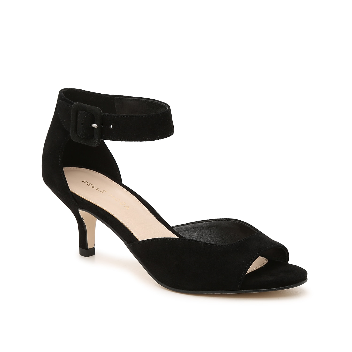 Classic and sophisticated, the Della sandal from Pelle Moda is versatile enough for nearly any outfit. This two-piece pair features a kitten heel and bold buckle accent for modern appeal.