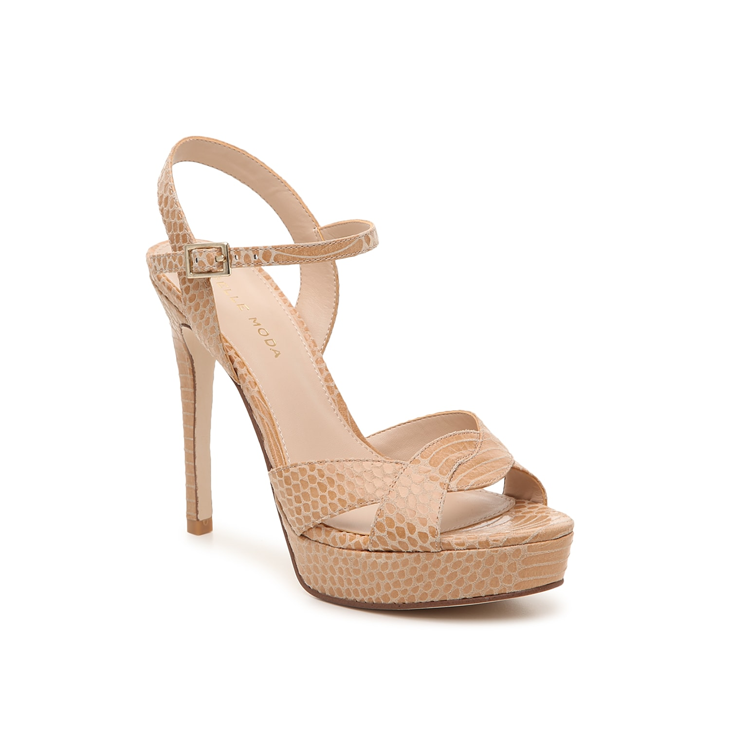 Reach new heights in the Danielle platform sandal from Pelle Moda. This silhouette is fashioned with a textural snake printed upper and a braided toe strap for extra allure!