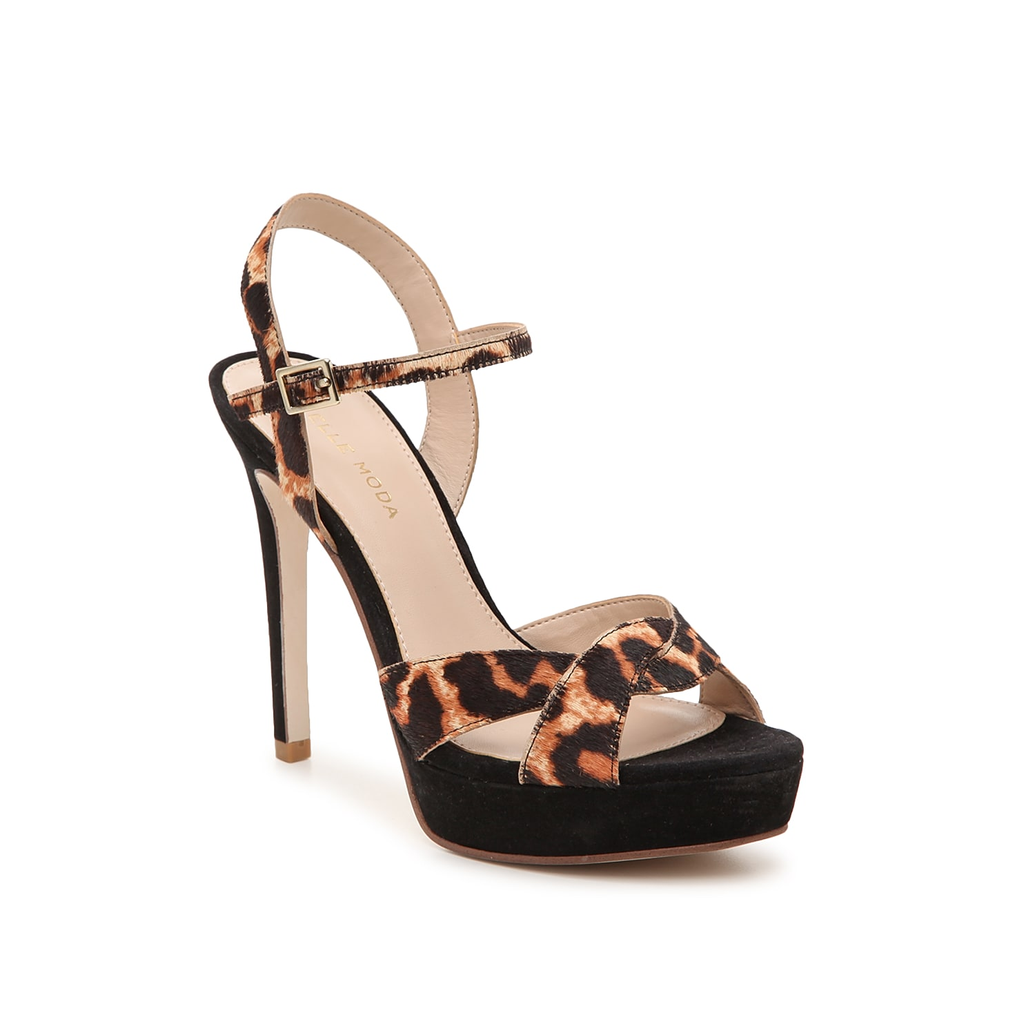 Reach new heights in the Danielle platform sandal from Pelle Moda. This silhouette is fashioned with a printed calf hair upper and a braided toe strap for extra allure!