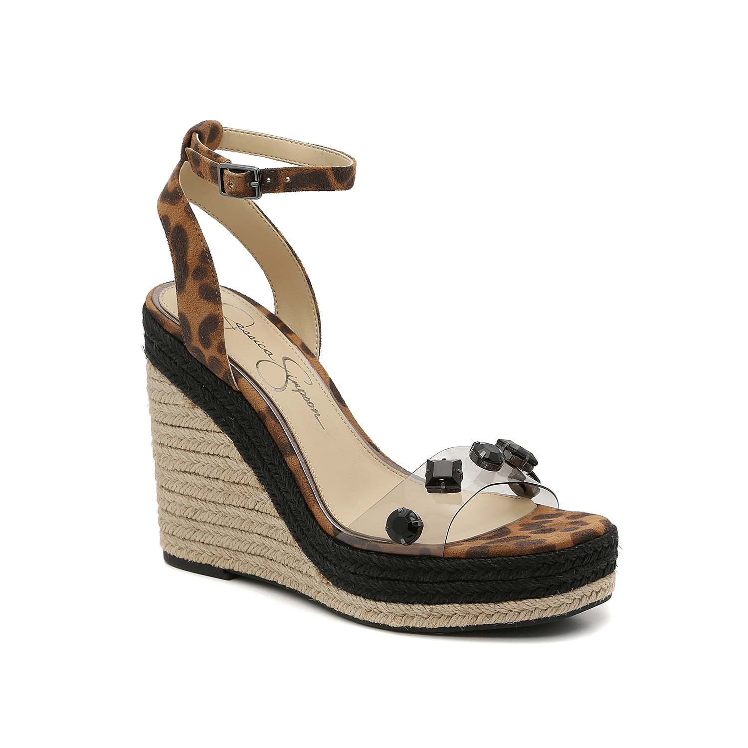 Jazz up warm weather looks with the Sameya wedge sandal from Jessica Simpson. Featuring a clear lucite toe strap with jeweled accents, this espadrille pair will have all eyes on you.