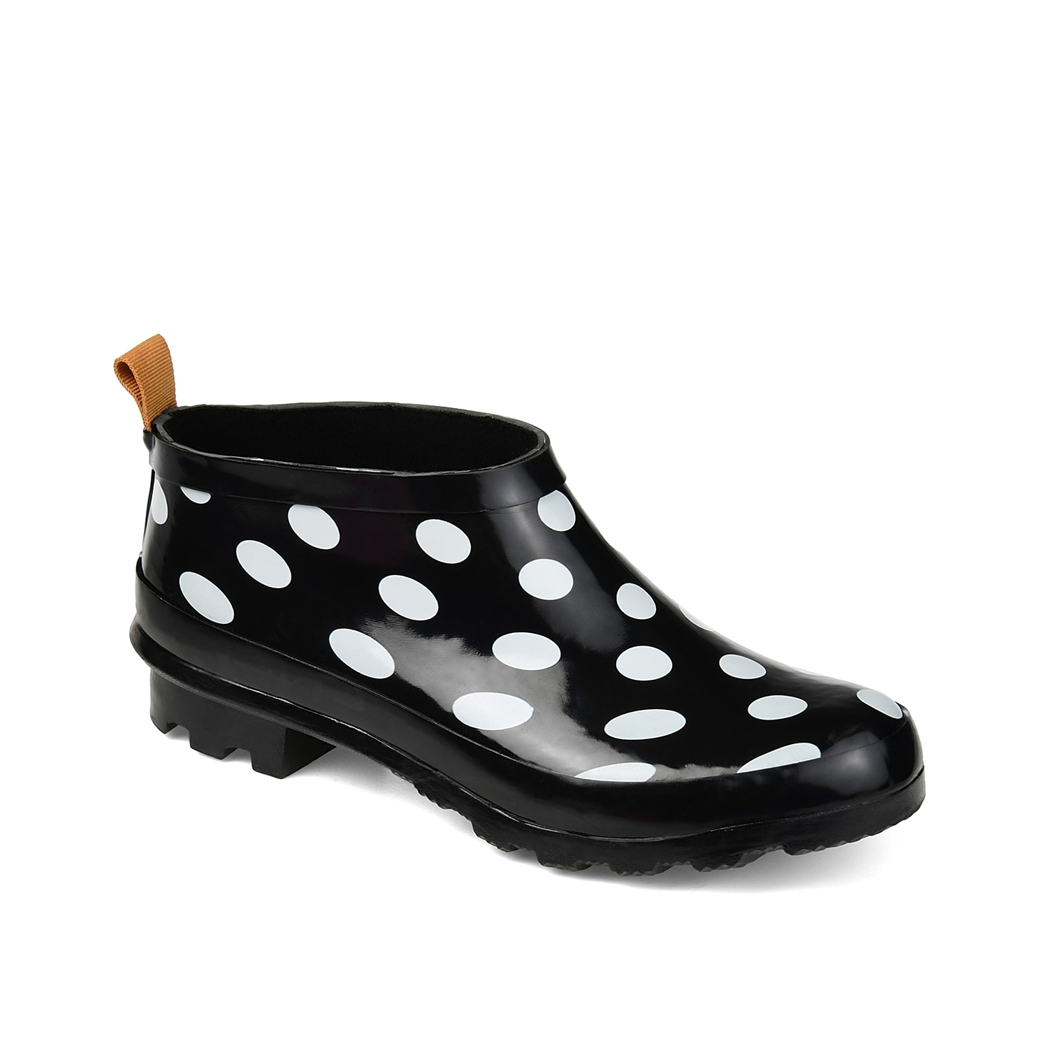 Brighten up gloomy days with the Rainer rain boot from Journee Collection. This waterproof ankle bootie features an eye-catching print and low-profile for your new favorite pair for wet days!Click here for Boot Measuring Guide.