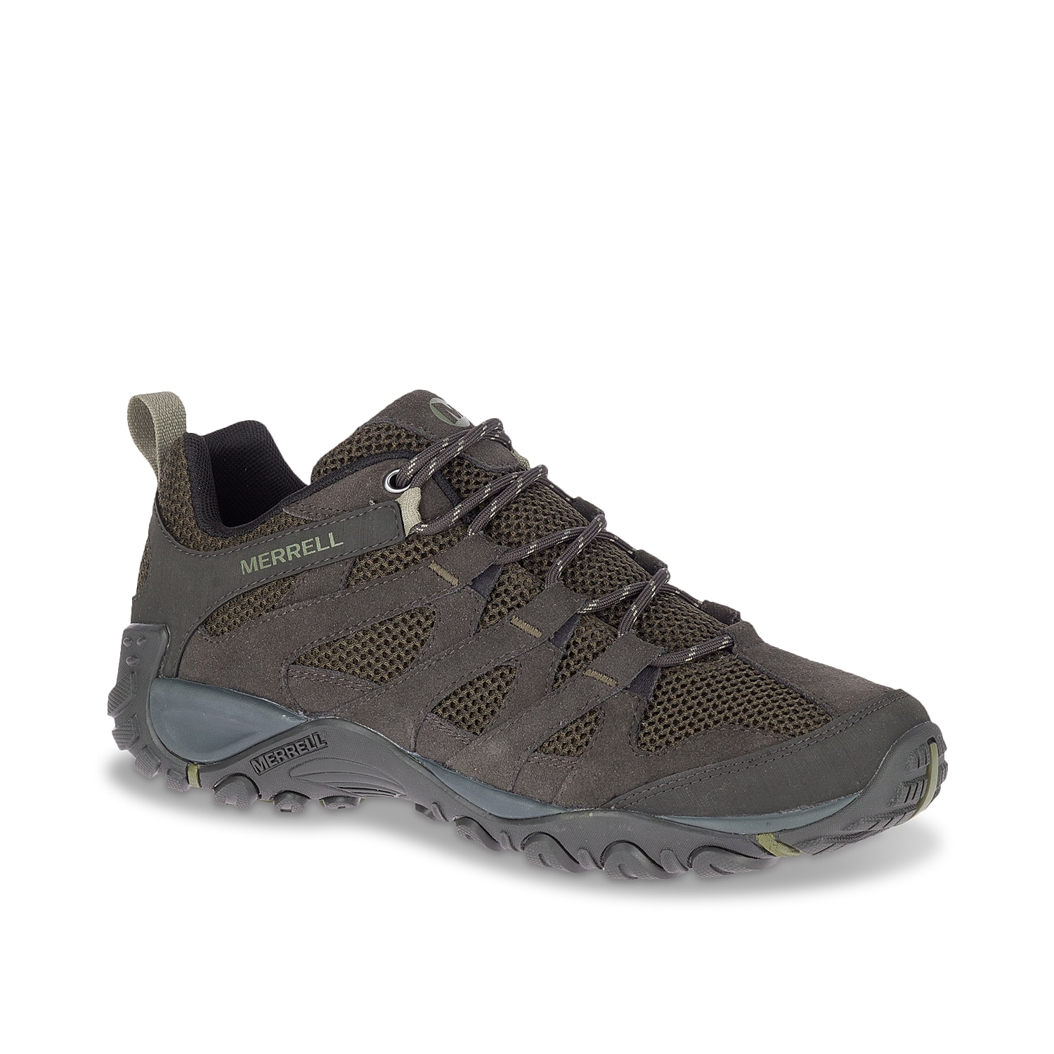 Stay supported during your daily hikes when wearing the Alverstone trail shoe from Merrell. This men\\\'s low-top is built to provide all-day comfort and foot protection with the air cushion in the heel!