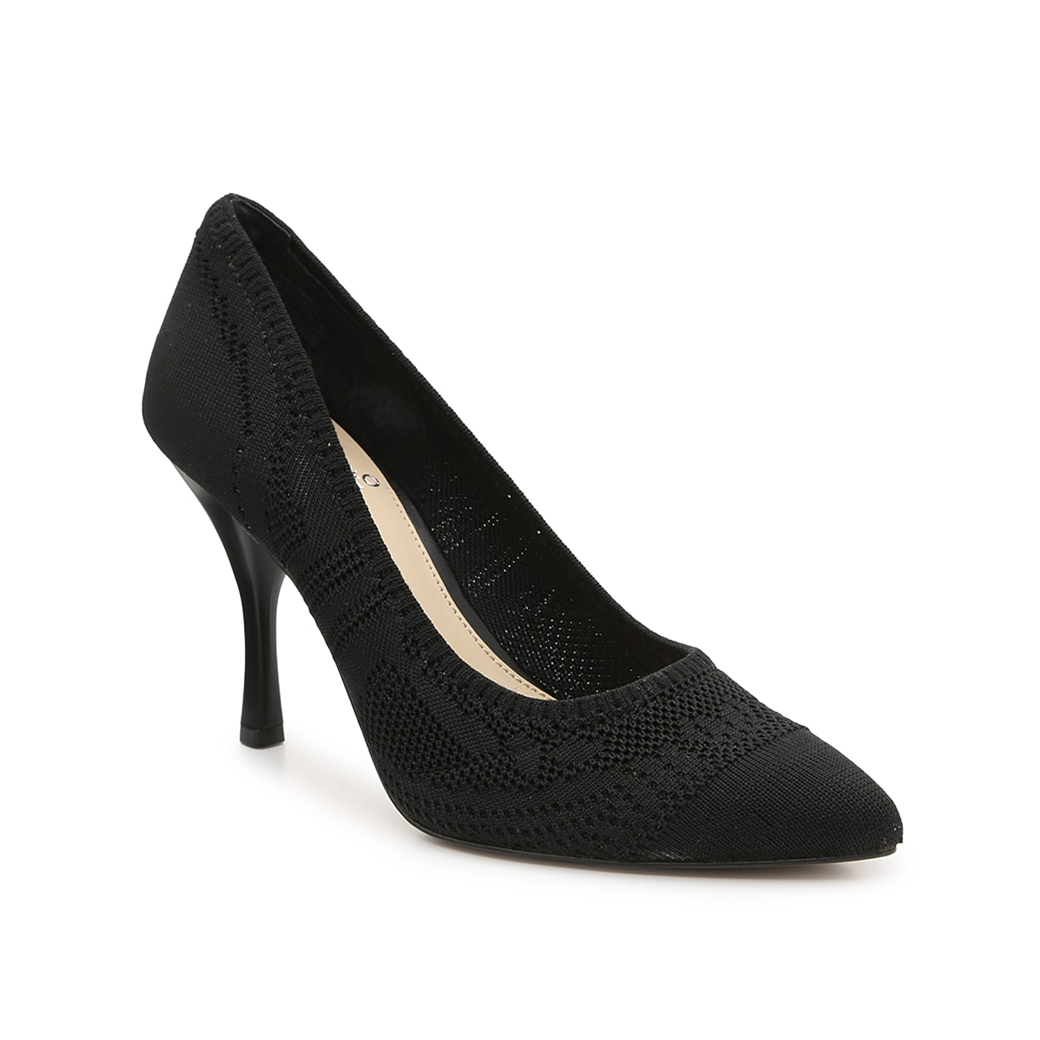 Reach new heights while wearing the Aparla pump from Vince Camuto. This classic silhouette is fashioned with a knit-fabric upper and a dynamic heel that elegantly curves upward into a unique cone shape!