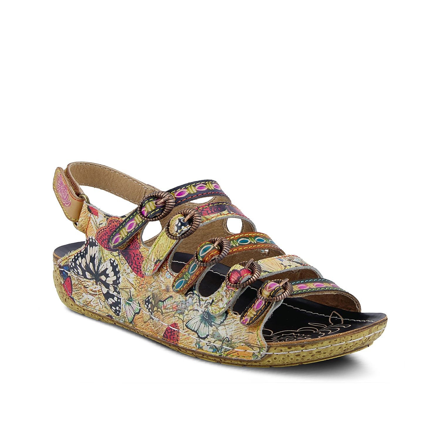 Bring unique style to your wardrobe with the Taffyta wedge sandal from L\\\'Artiste by Spring Step. This silhouette features multiple straps across the vamp and hand-painted leather for extra allure!
