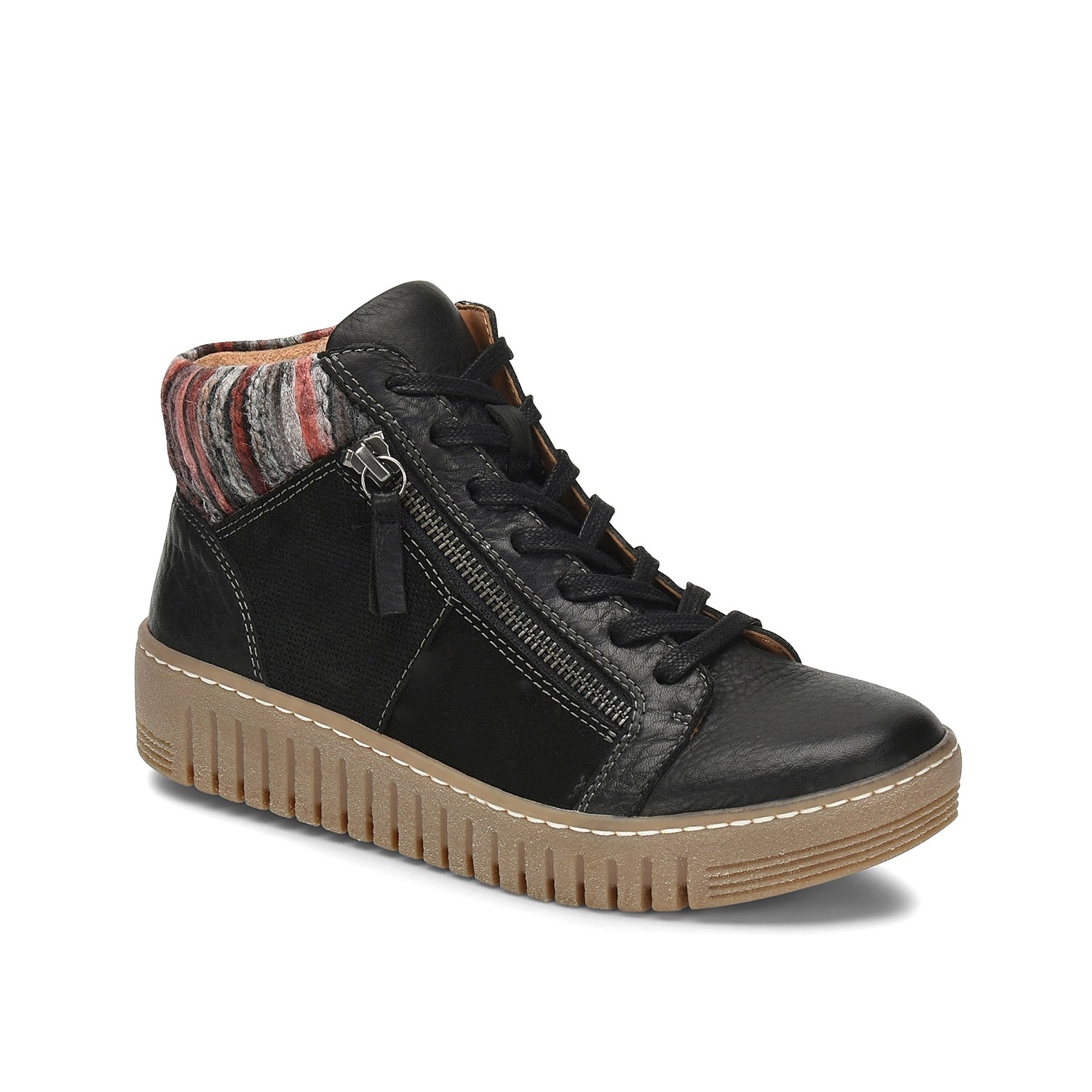 Kick back in the Halia mid-top sneaker from Comfortiva. This high-top pair features bootie-inspired design with a sweater-knit collar and a flexible sole for cushioned steps all throughout your day!