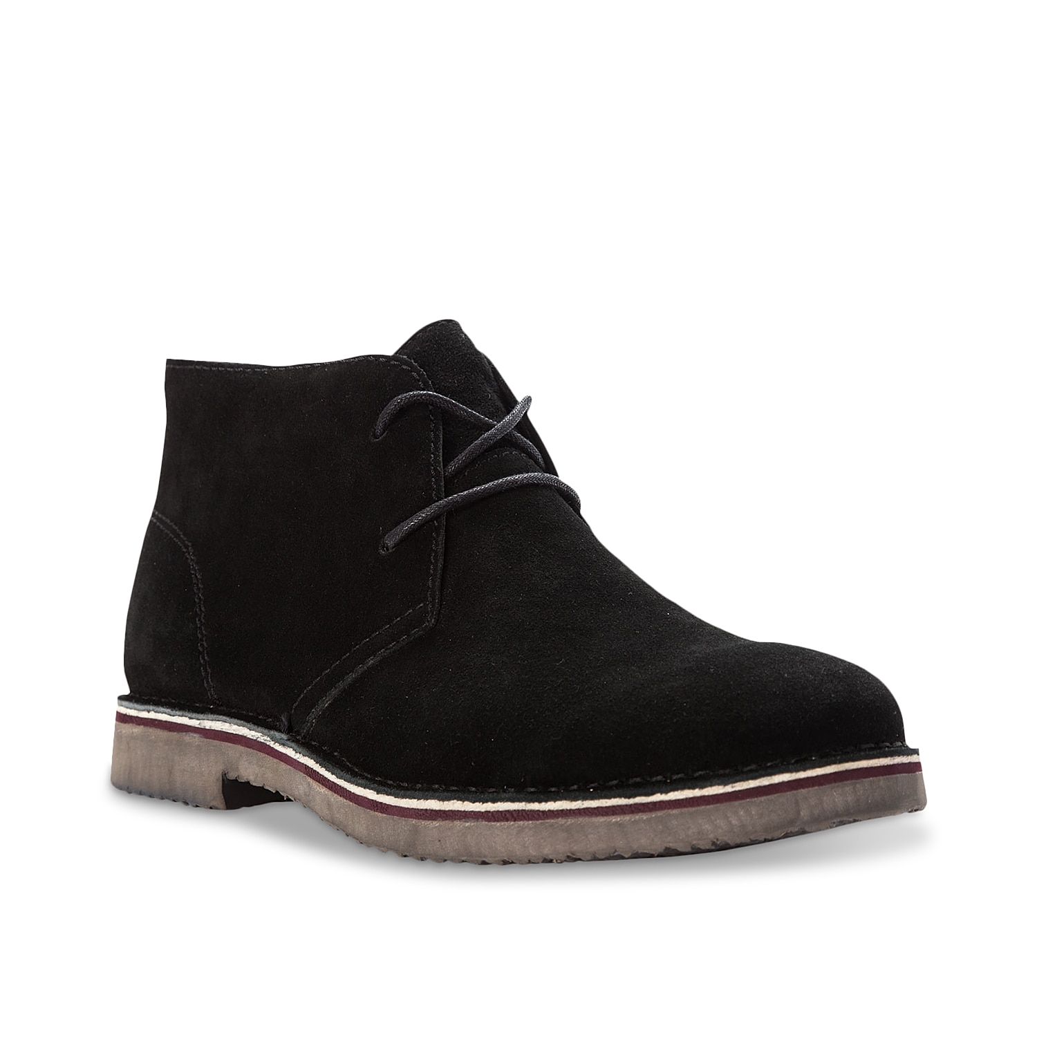Tonal stitching and a two-lace design lend craftsman style to the Propet Findley chukkas. This iconic boot features a rubber outsole that\\\'s layered with EVA for added cushioning.