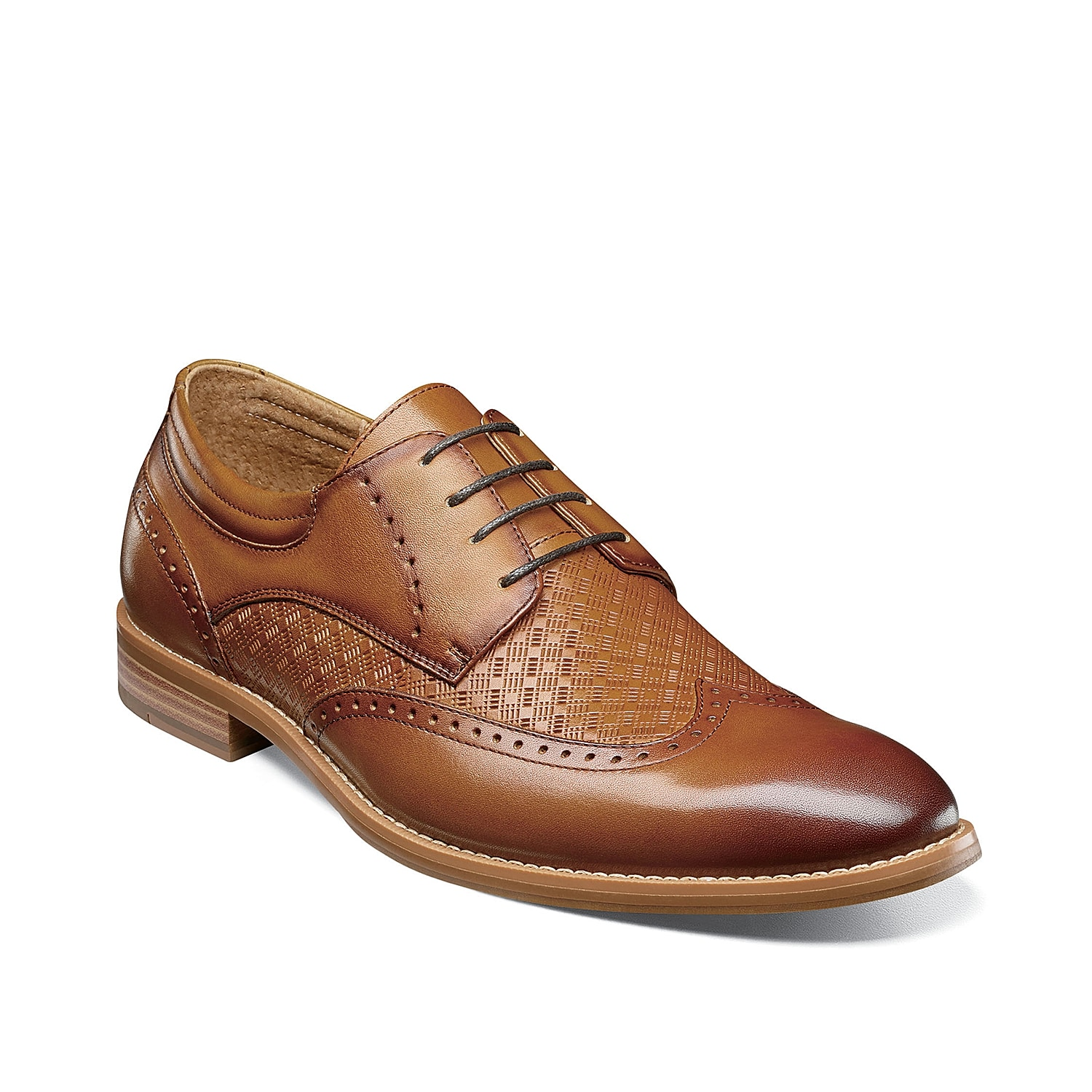 Rich detailing brings a distinguished quality to the Fallon oxfords from Stacy Adams. The burnished wingtip toe, intricate perforations, stacked heel, and mix of embossing bring together a noteworthy dress shoe.