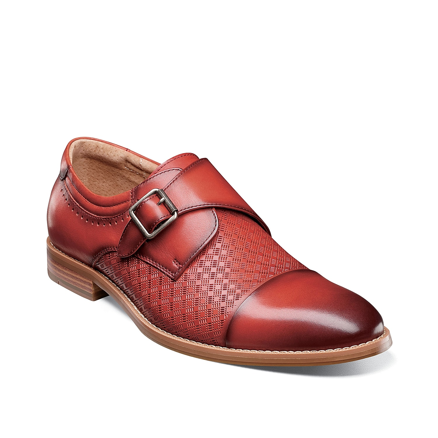 Styled with a striking mix of smooth and textured leather, the Fenwick dress shoes from Stacy Adams are completed with a stacked block heel, perforations, and subtle burnishing at the toe.