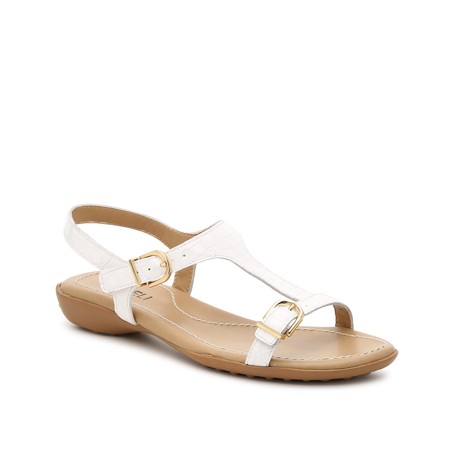 Top off your warm-weather shoe collection with the Taletha sandal from VANELi. This silhouette is fashioned with exposed buckle accents and a subtle heel for the right amount of height!