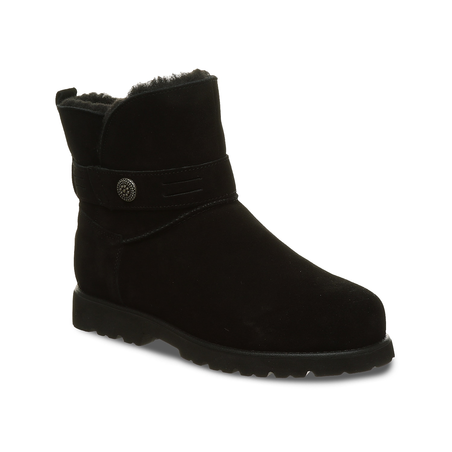 Brave the chilly season in the Wellston snow boot by Bearpaw. Made of suede, this ankle boot boasts a decorative wraparound strap and is equipped with NeverWet® technology to keep the water out.Click here for Boot Measuring Guide.