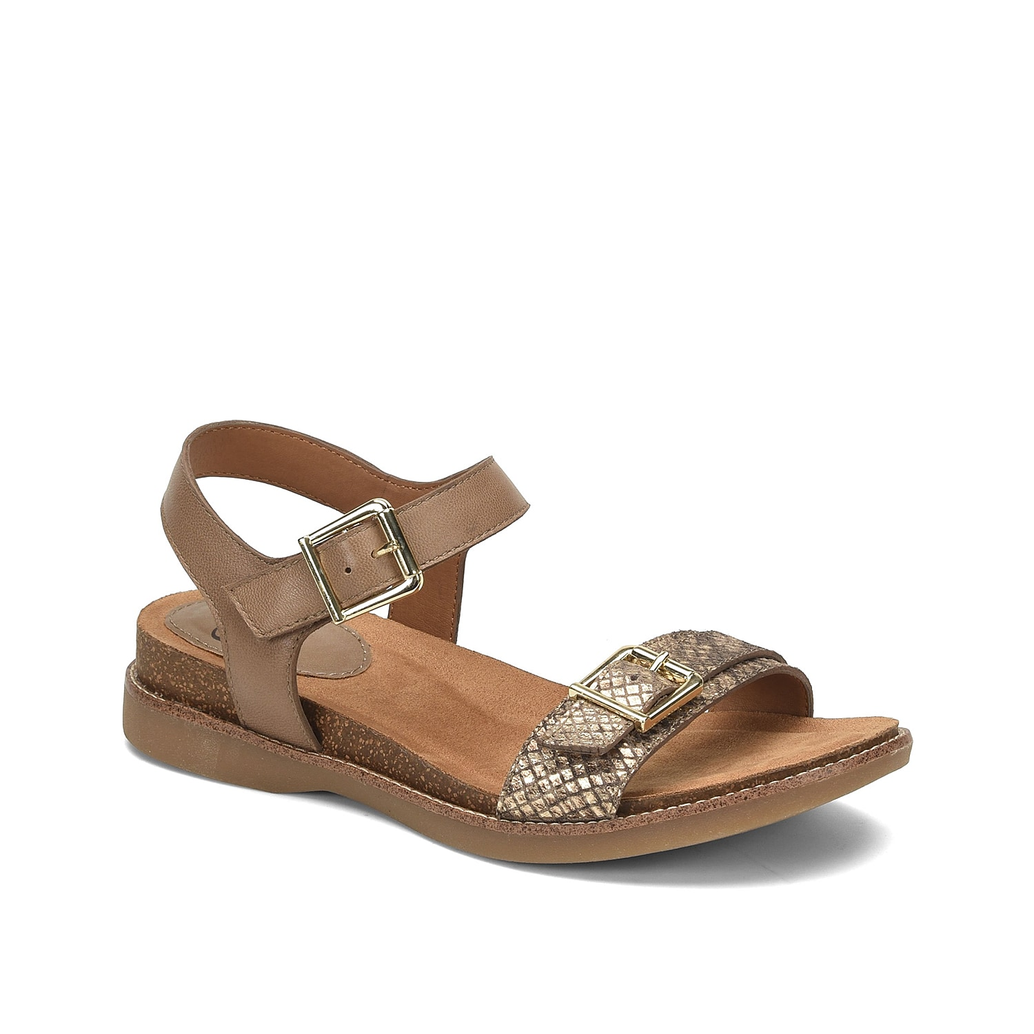 Get the comfort you need with the Balsam sandal from Sofft. This two-piece pair features a cushioned comfort footbed and cork wedge for added support.