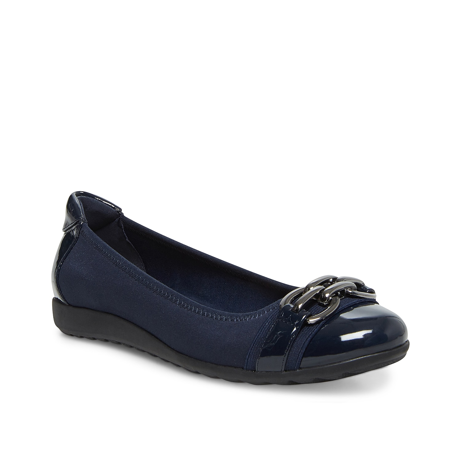 Keep your look cute and casual with the Tahina Flat from Anne Klein. This slip-on features a cushioned footbed and metal-inspired accents for a comfortable and detailed finishing touch!